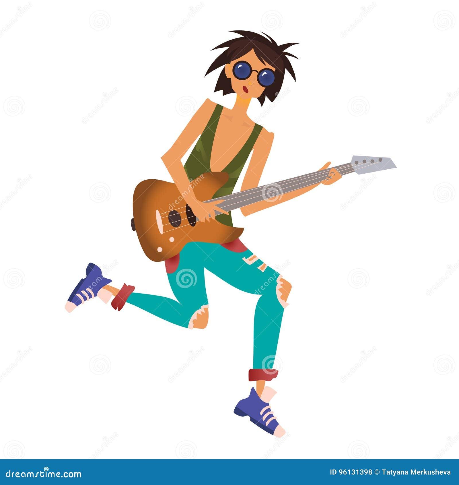 Een jonge mens die de gitaar spelen De musicus van de rots Vectorillustratie, die op witte achtergrond wordt geïsoleerd