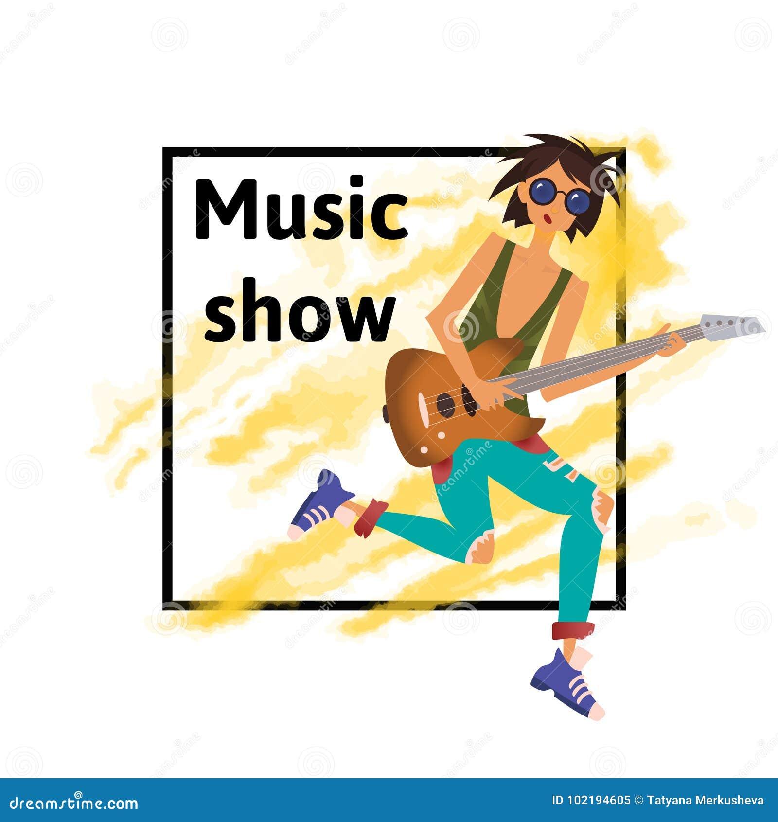 Een jonge mens die de gitaar spelen De musicus van de rots