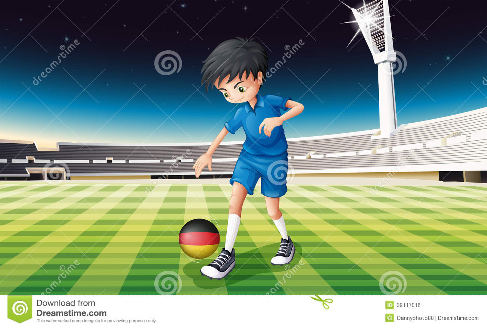 Een jongen bij het gebied die de bal met de vlag van Duitsland gebruiken