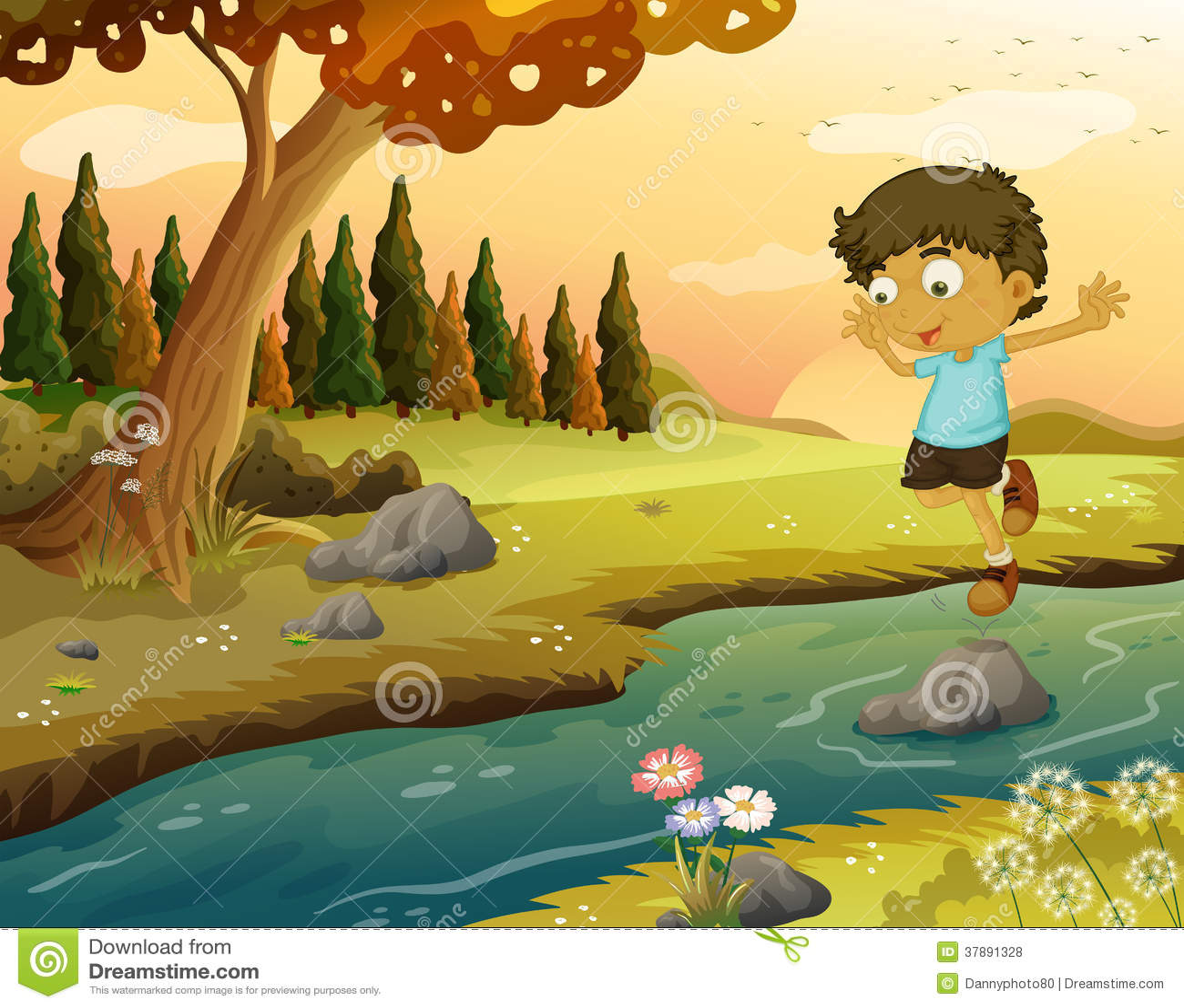 Een jongen die bij het stromende water spelen