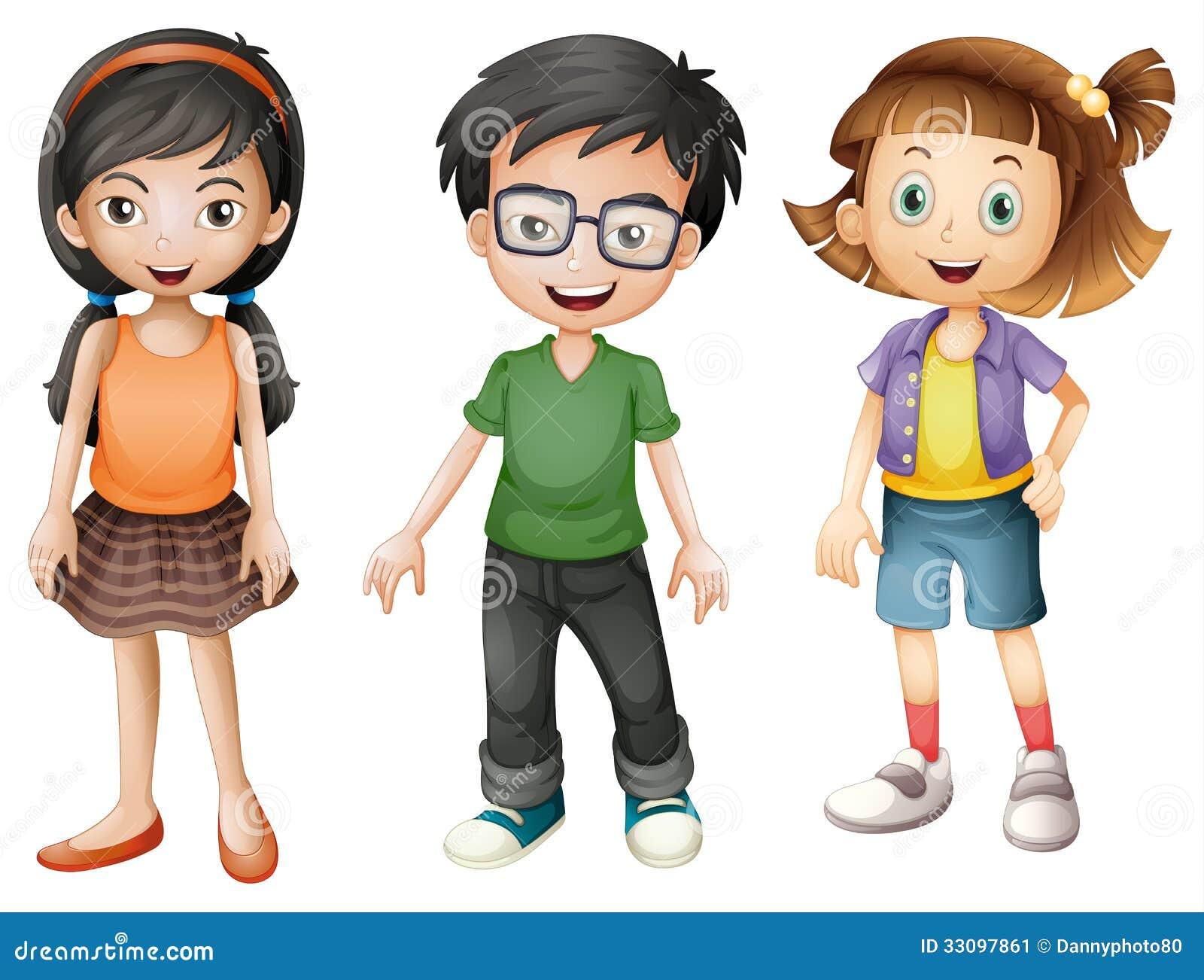 Een jongen en meisjes stock afbeelding afbeelding 33097861 - Twee meisjes en een jongen ...