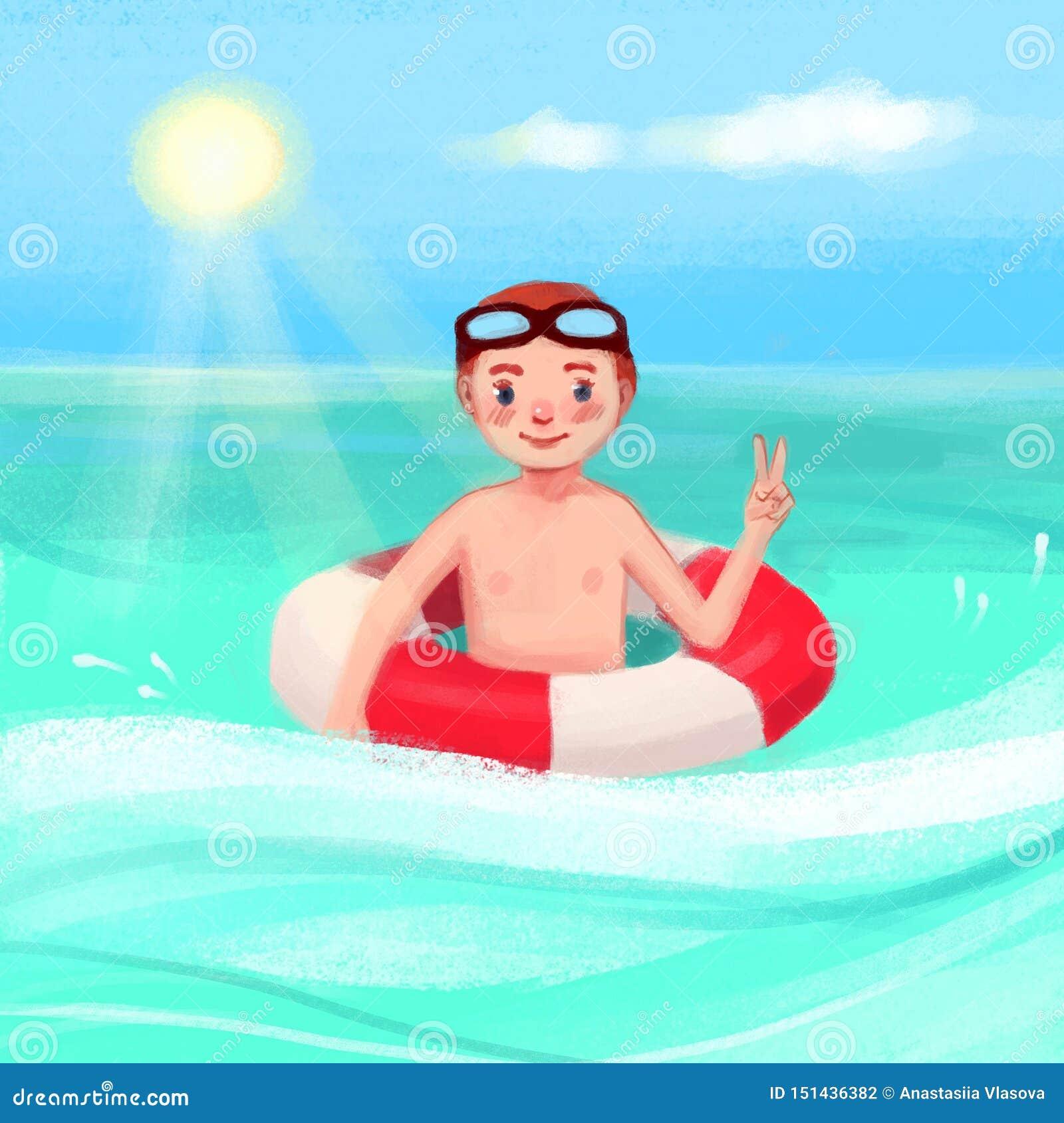 Een jongen in het overzees met een reddingsboei