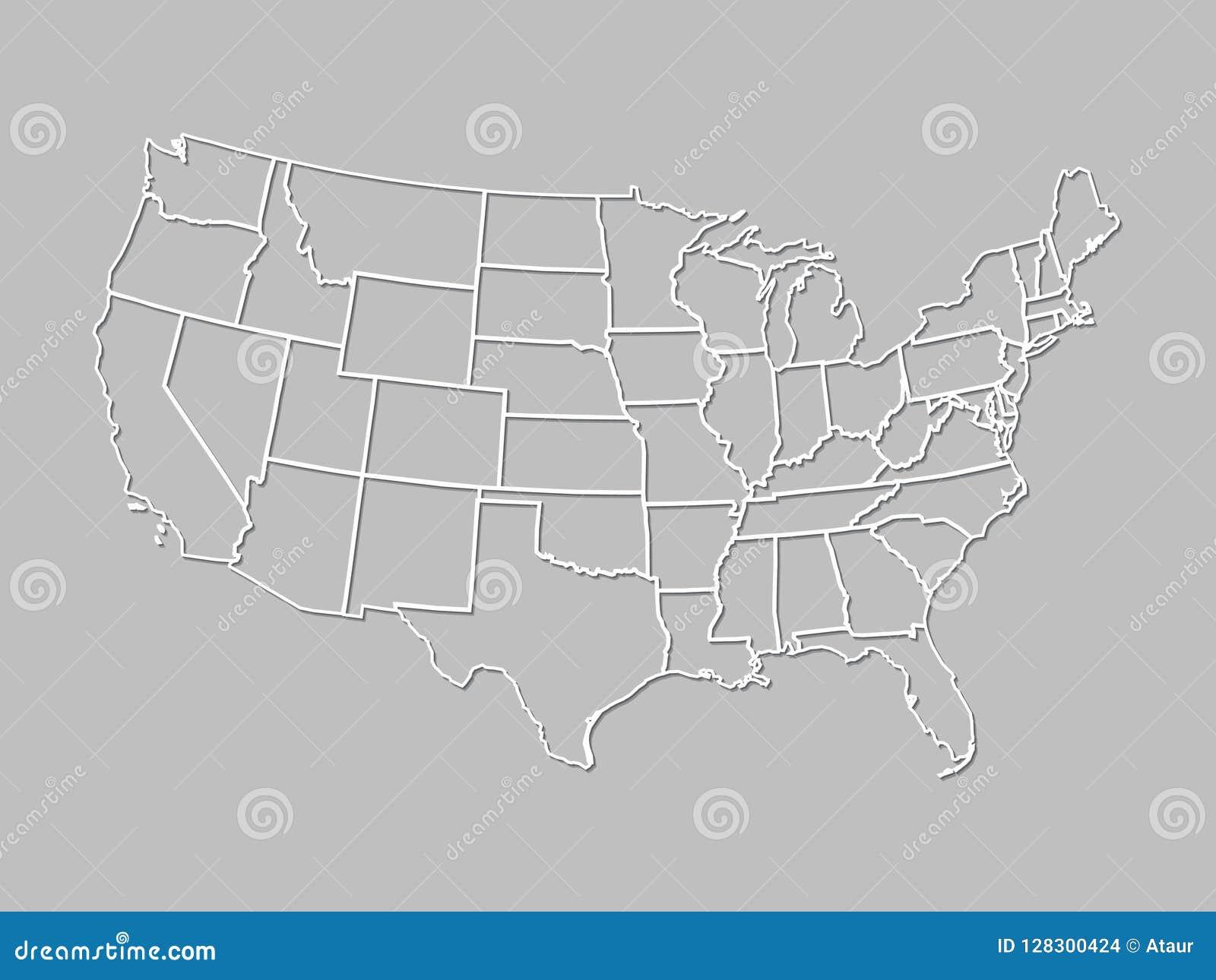 Een kaart van de Verenigde Staten van Amerika met witte lijnen met het in de schaduw stellen op grijze achtergrond