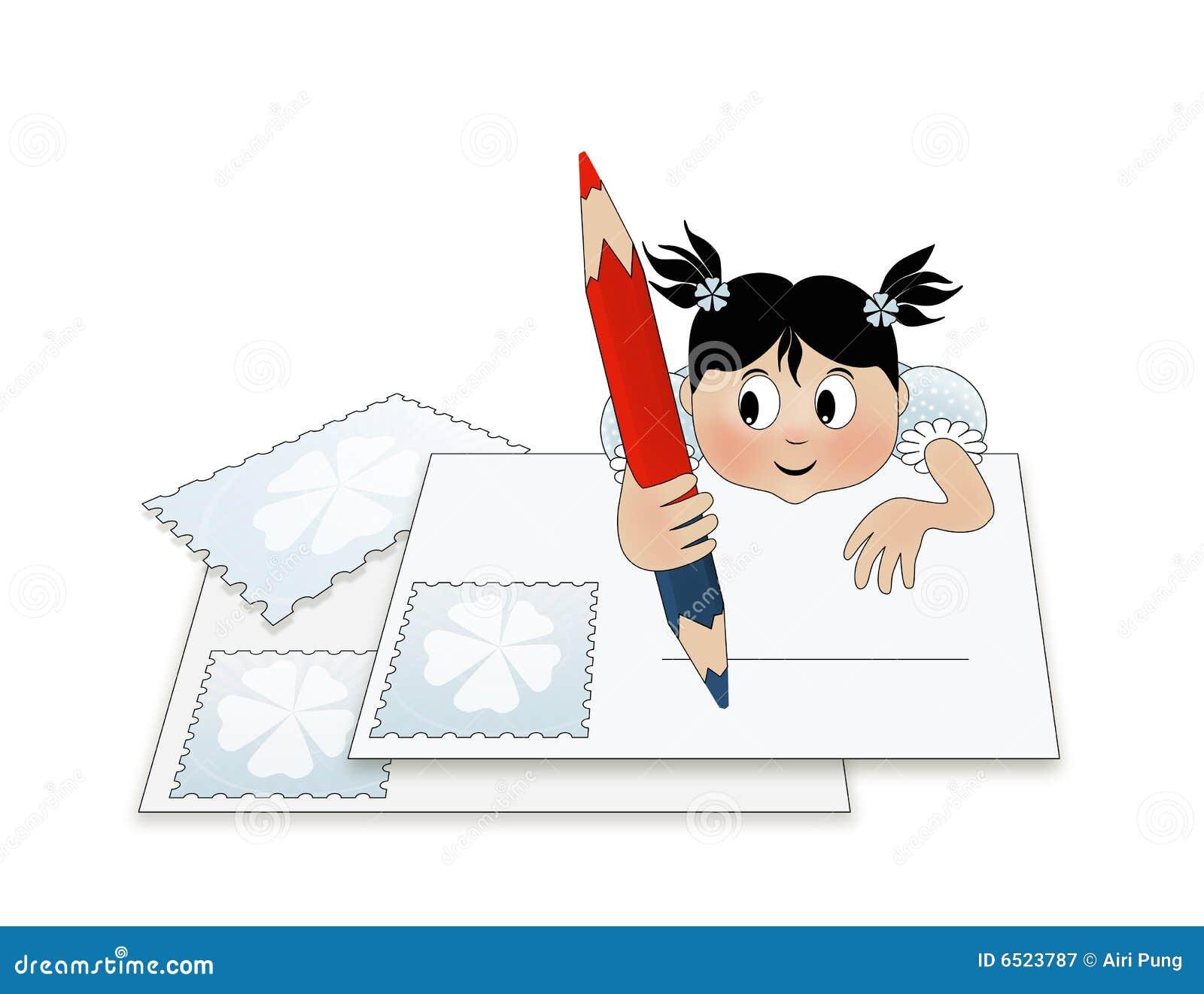 Een Kind Dat Een Brief (aan Santa) Schrijft Stock Illustratie