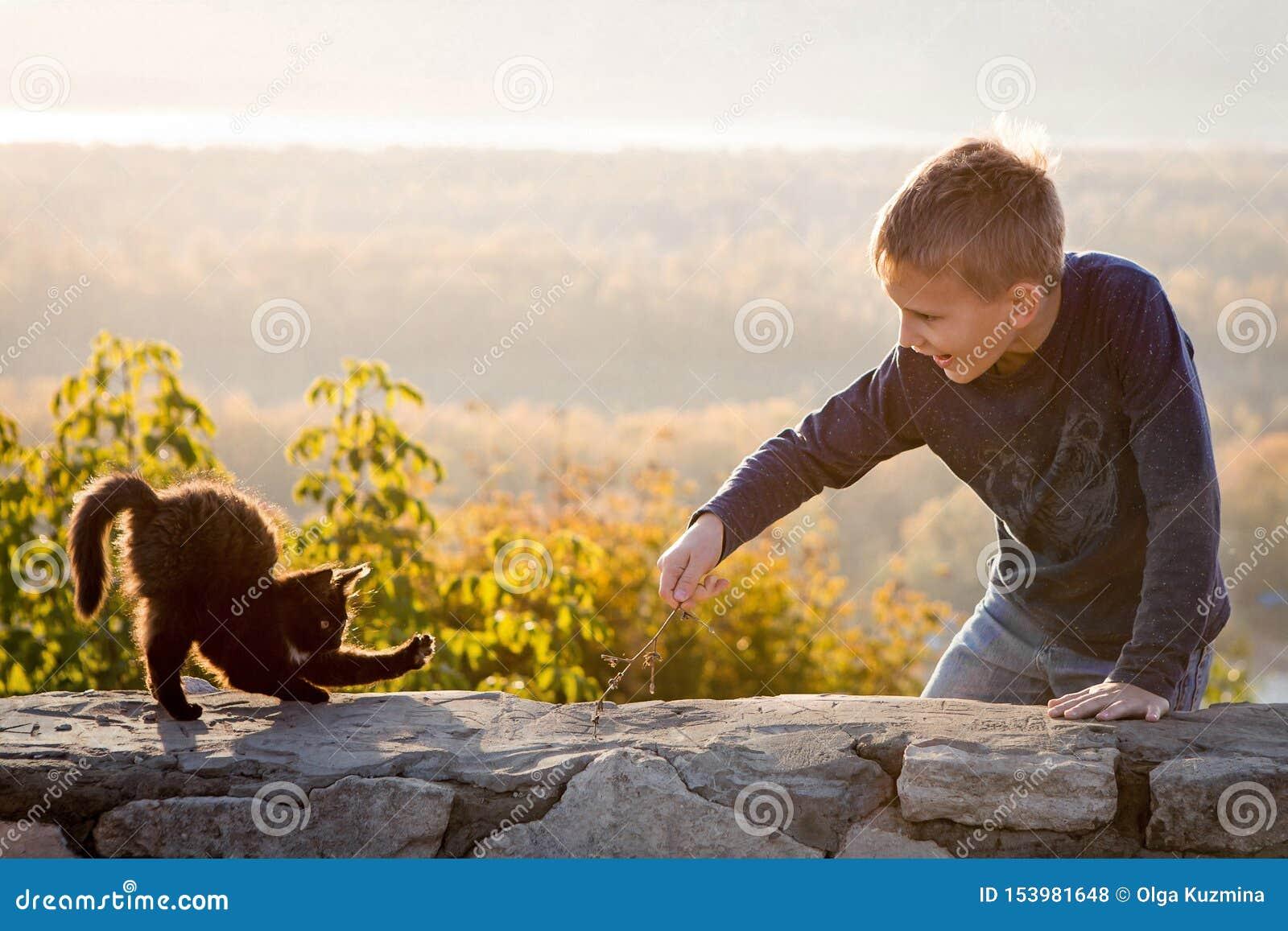 Een kind speelt met een katje Pretfoto Communicatie met dieren Blije jongen De herfst heldere dag Mooi landschap in