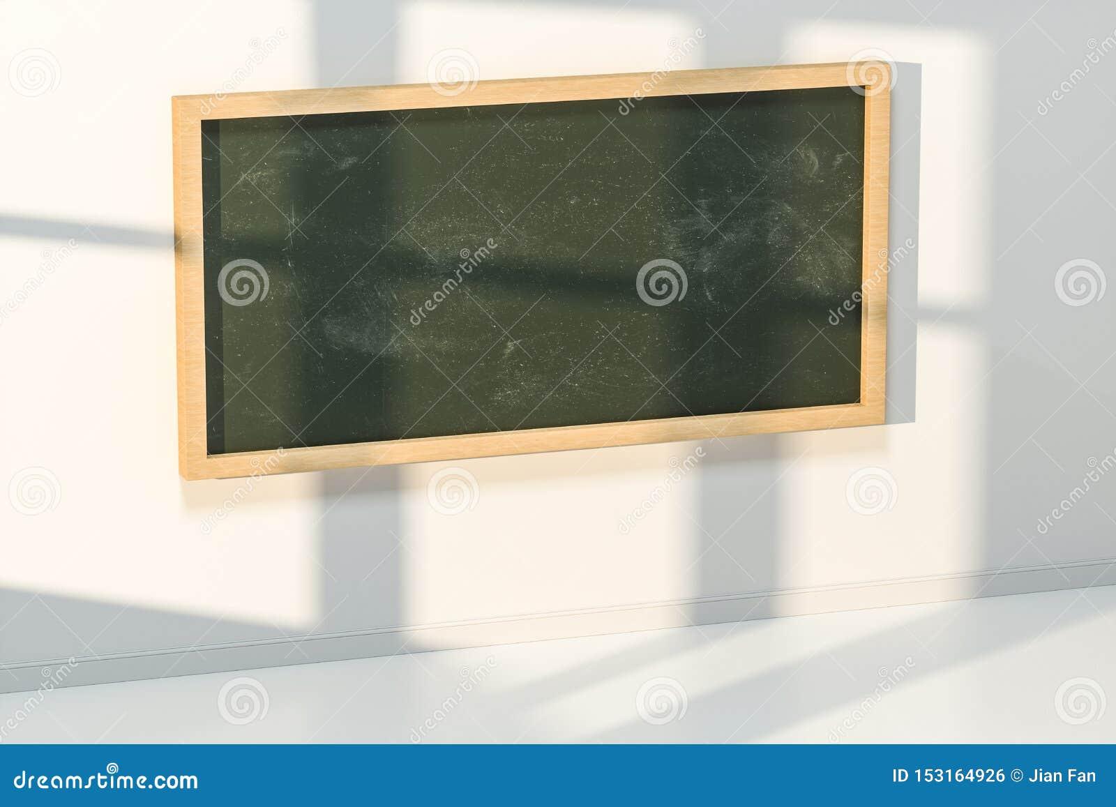 Een klaslokaal met een bord in de voorzijde van de ruimte, het 3d teruggeven