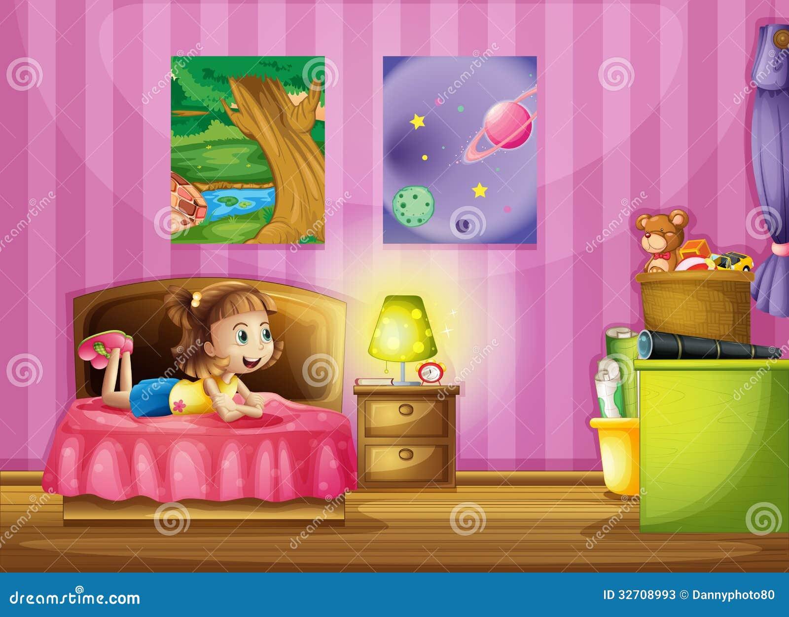 Een klein meisje binnen haar kleurrijke ruimte stock foto 39 s beeld 32708993 - Foto slaapkamer klein meisje ...
