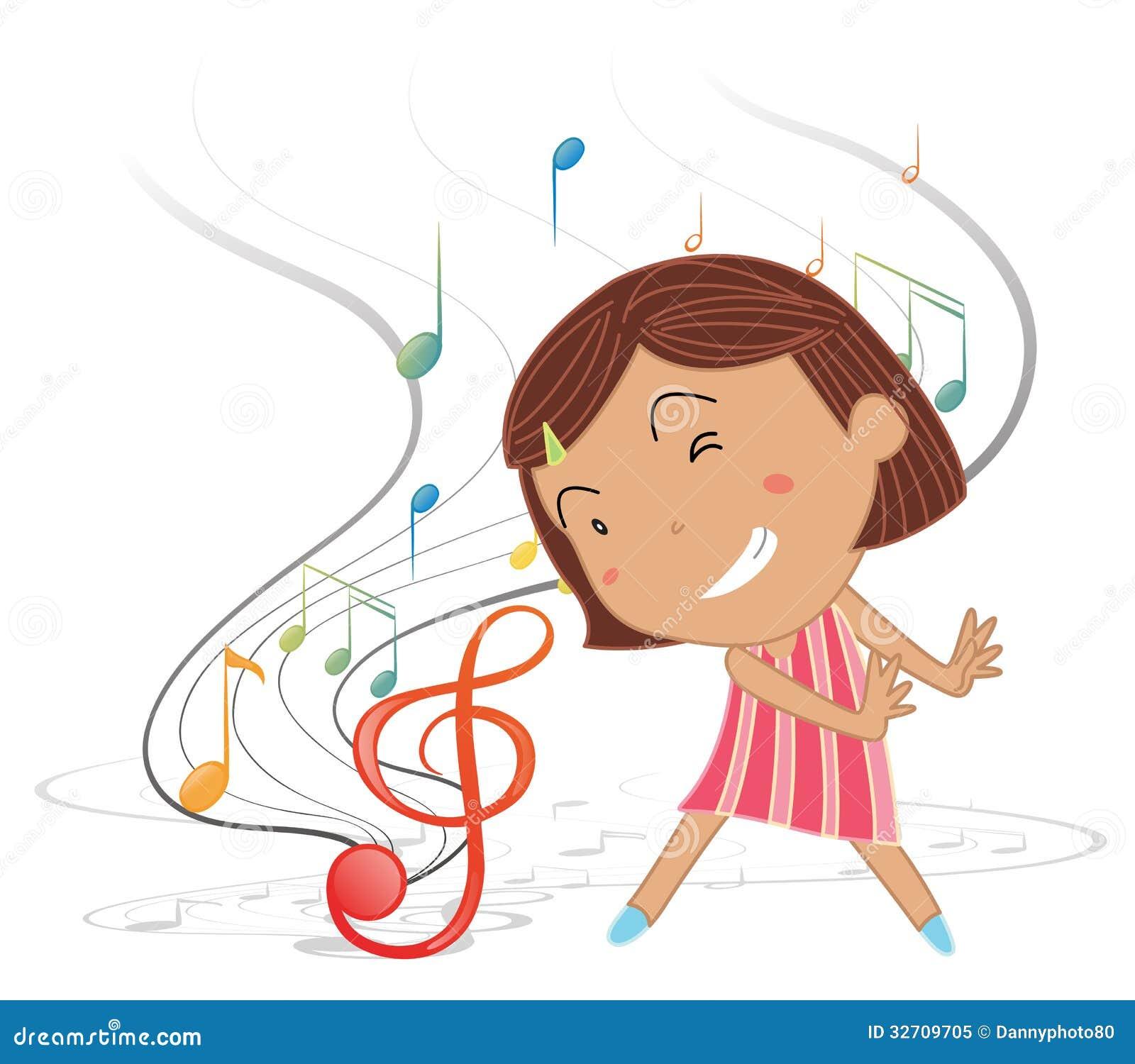 Een klein meisje die met muzieknoten dansen royalty vrije stock foto beeld 32709705 - Klein meisje idee ...