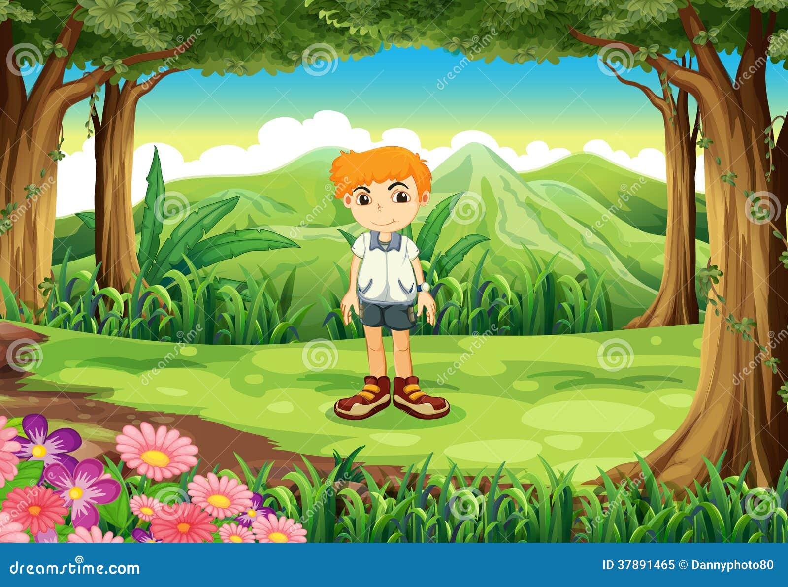 Een kleine mens bij het bos