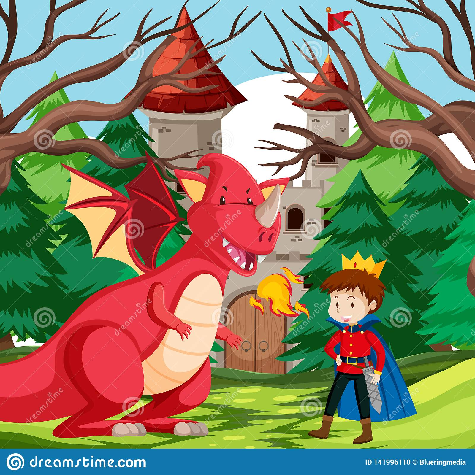 Een koning en een draak bij kasteel