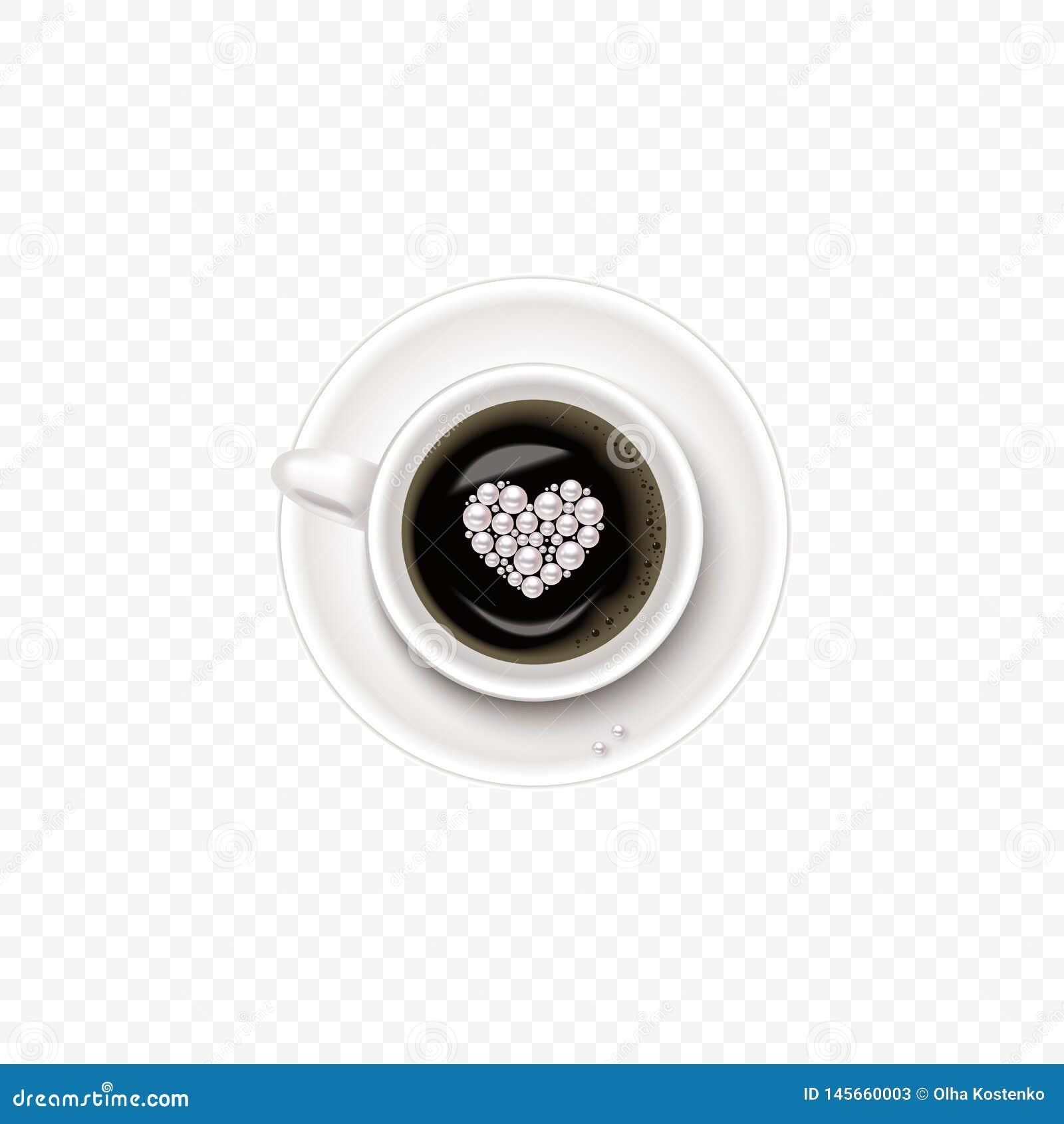 Een Kop van Koffie en schotel, hoogste mening, realistische vectorkop met hart in parel