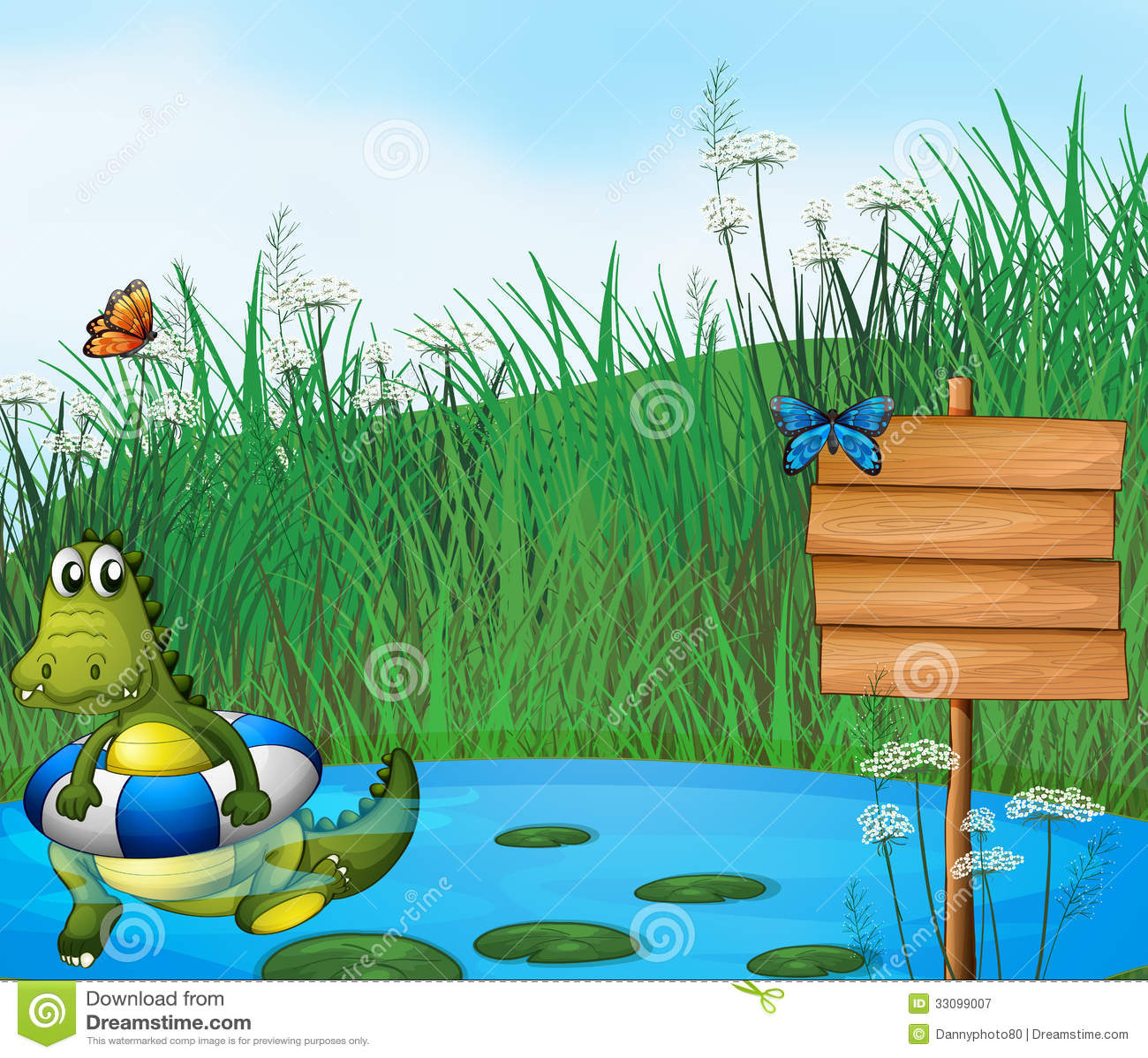 Een krokodil die in de vijver zwemmen