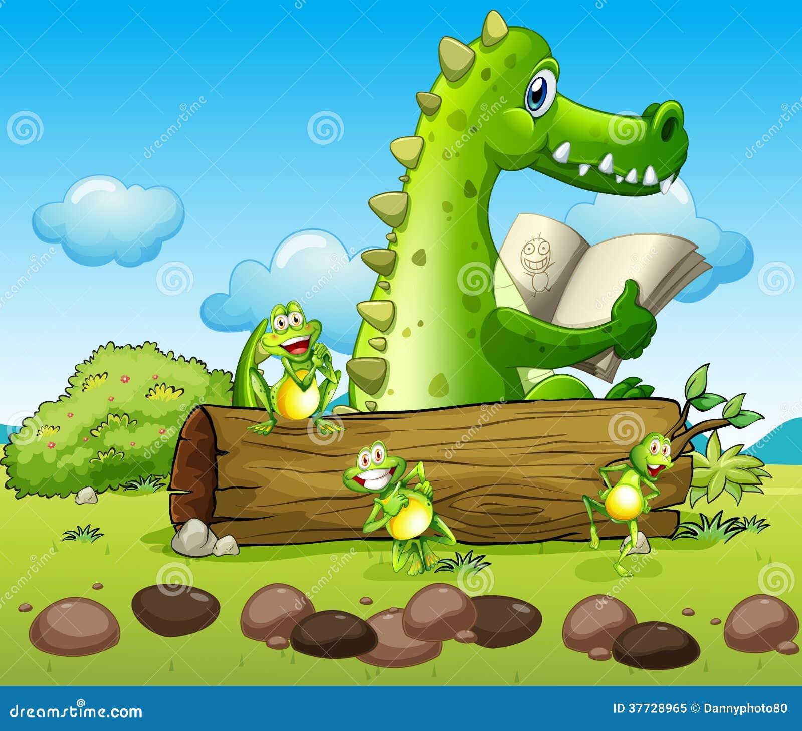 Een krokodil en de drie speelse kikkers