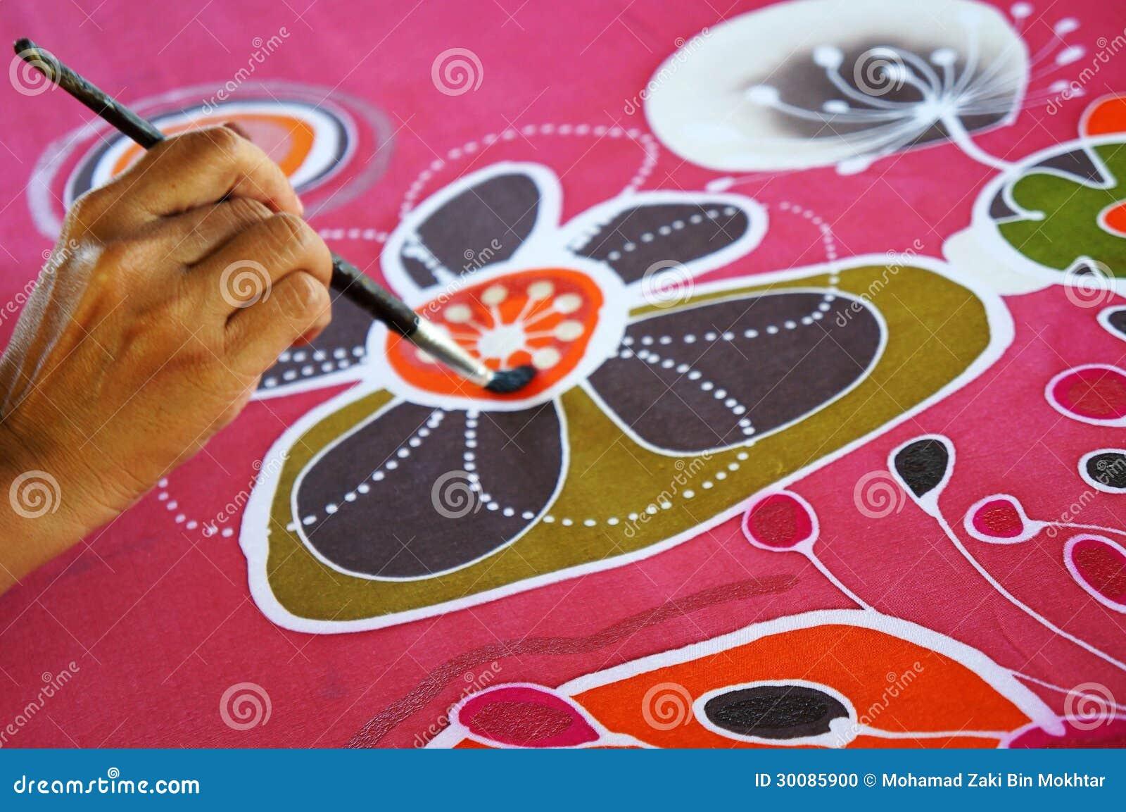 Het schilderen van de batik