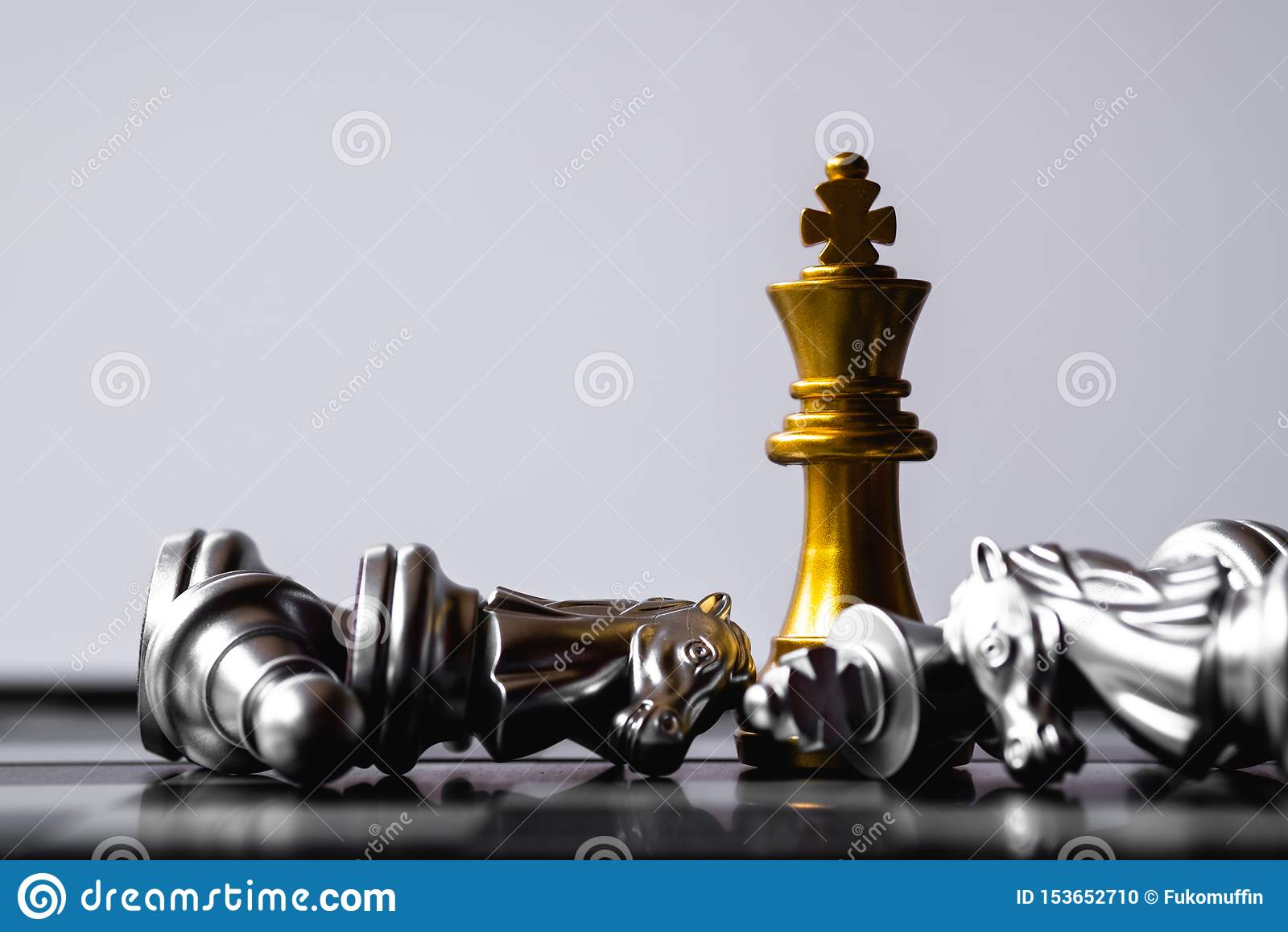 Een laatste tribune van de schaakkoning als ware winnaar Het concept van het geldspel De ruimte van het exemplaar