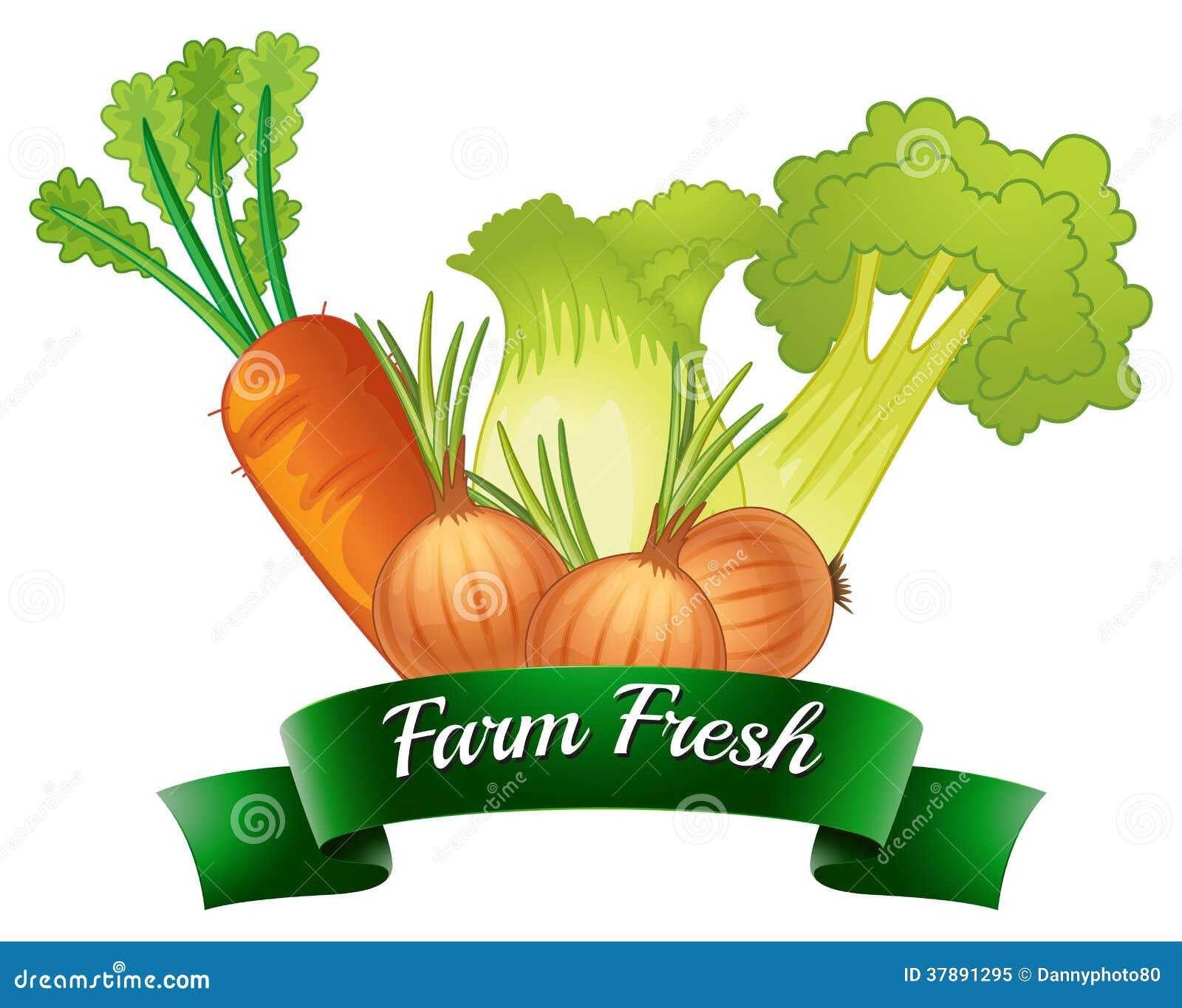 Een landbouwbedrijf vers etiket met verse groenten