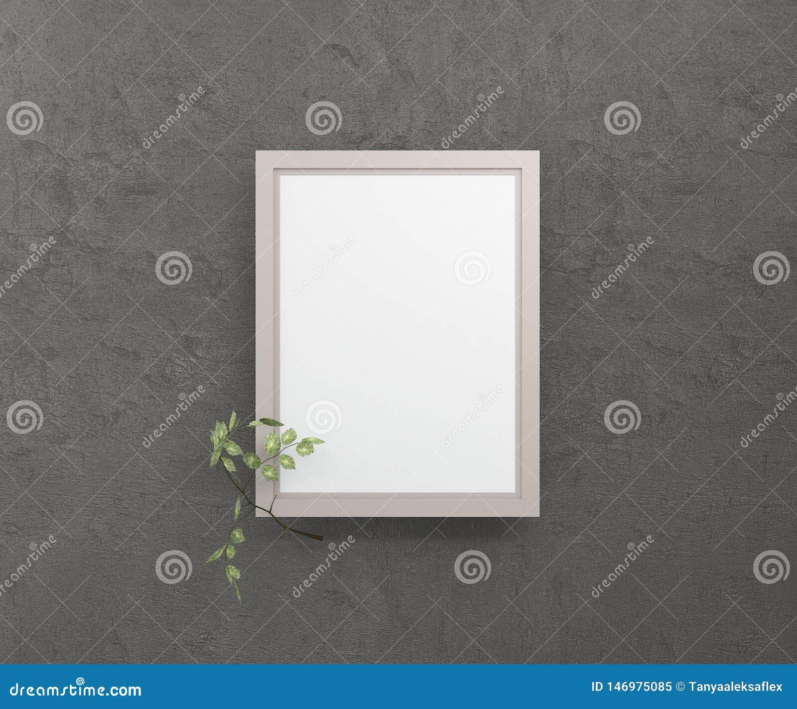 Een leeg beeld in een kader tegen een donkere muur met een berktakje het 3d teruggeven