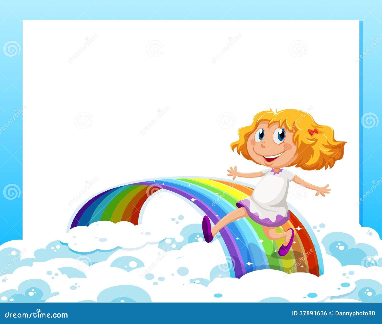 Een leeg malplaatje met een meisje bij de bodem die met rai spelen