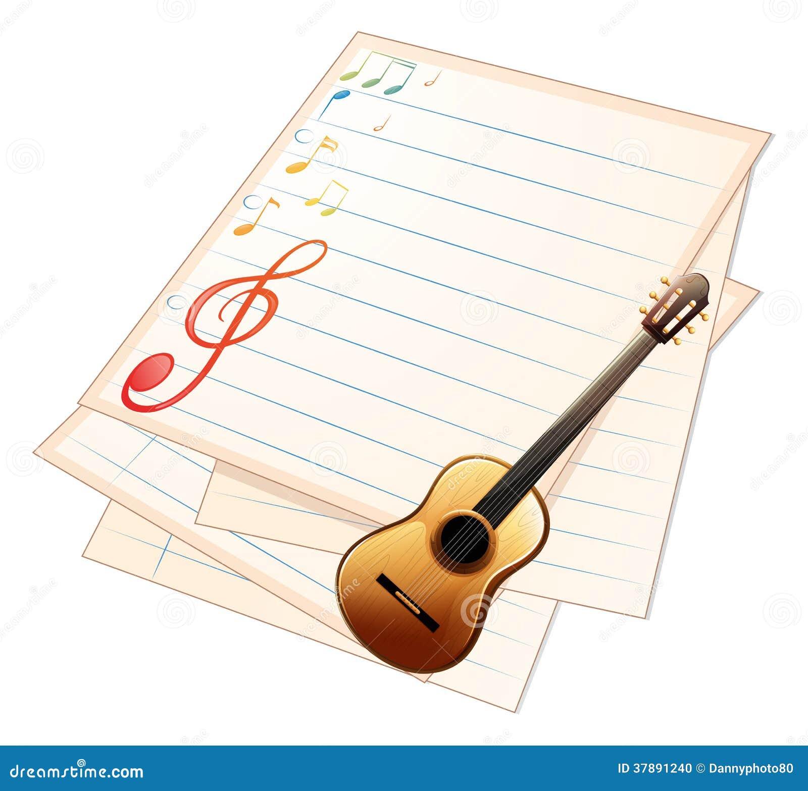 Een leeg muziekdocument met een gitaar