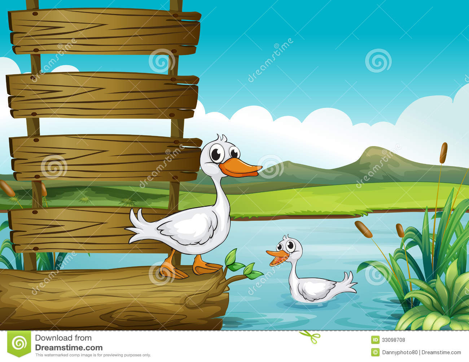 Een leeg uithangbord met eenden