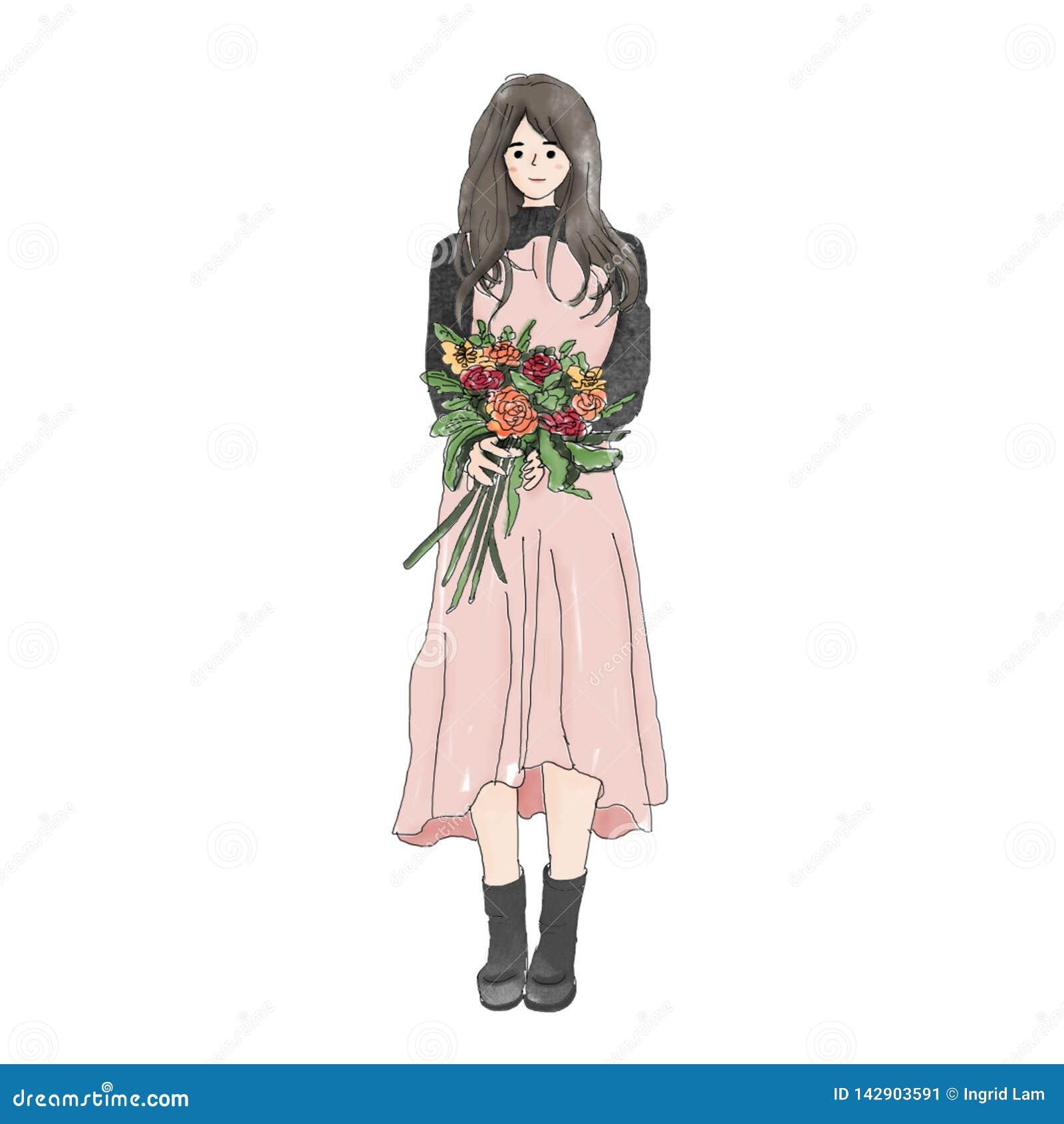 Een leuk Aziatisch meisje met bloem