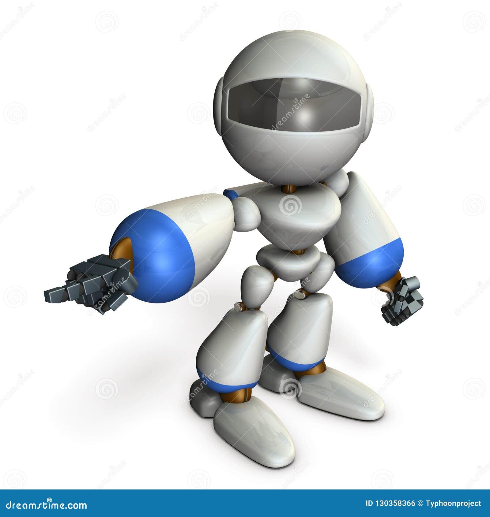 Een leuke robot die aan de linkerzijde richt Het toont de richting om te gaan