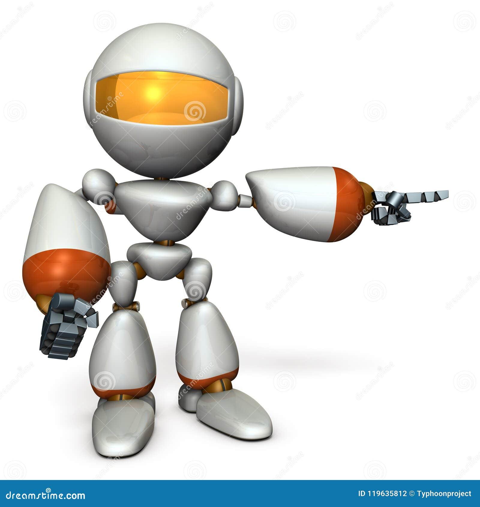 Een leuke robot die aan het recht richt Het toont de richting om te gaan