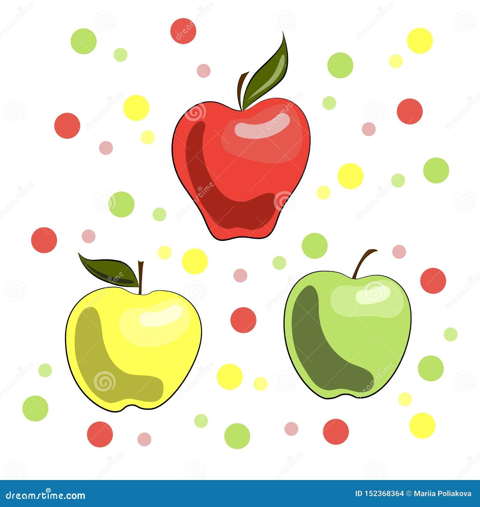 Een levendige illustratie van appelen: rood, geel en groen