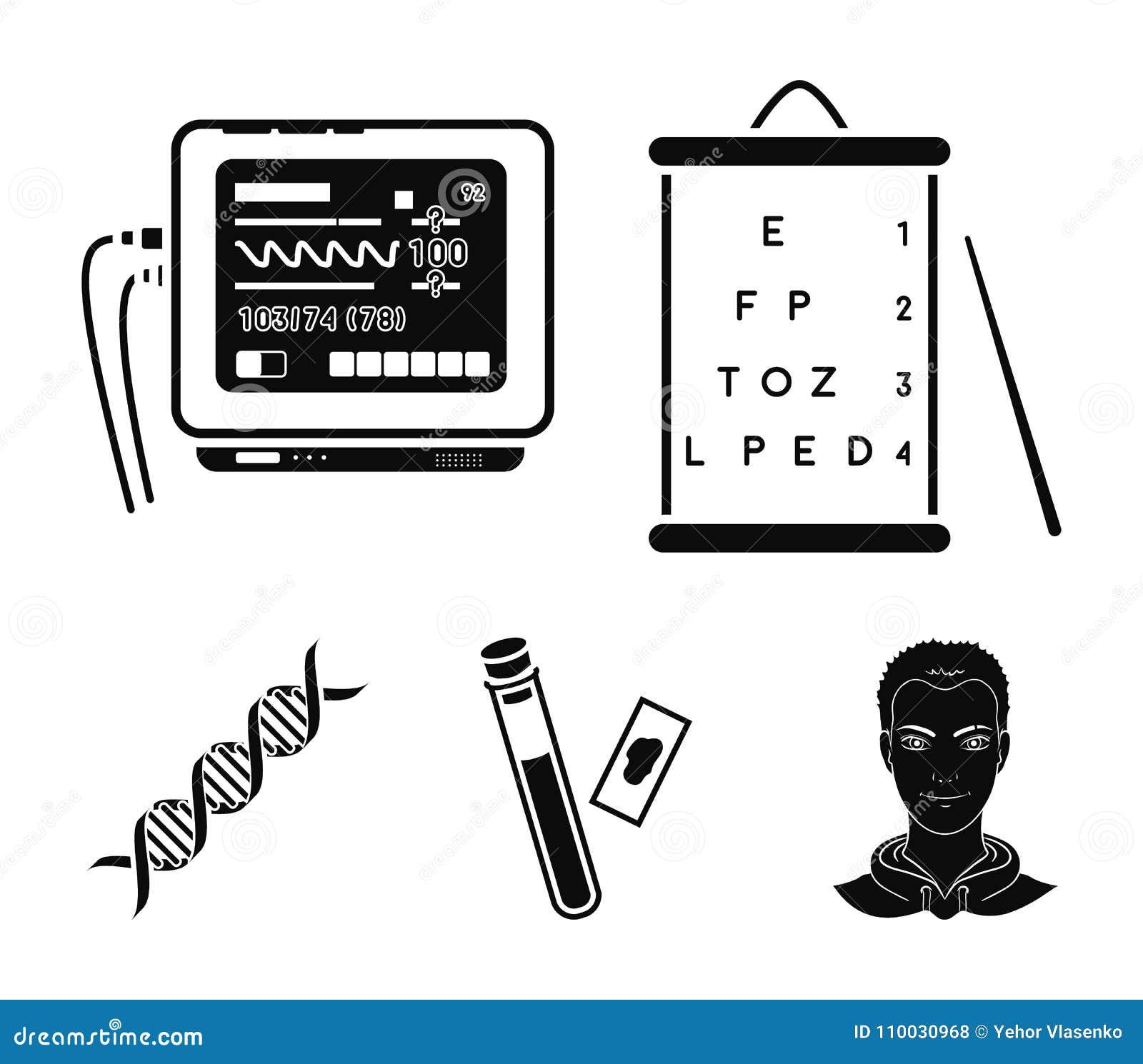 Een lijst van visietests, een bloedonderzoek, een DNA-code, een ECG-apparaat Pictogrammen van de geneeskunde de vastgestelde inza