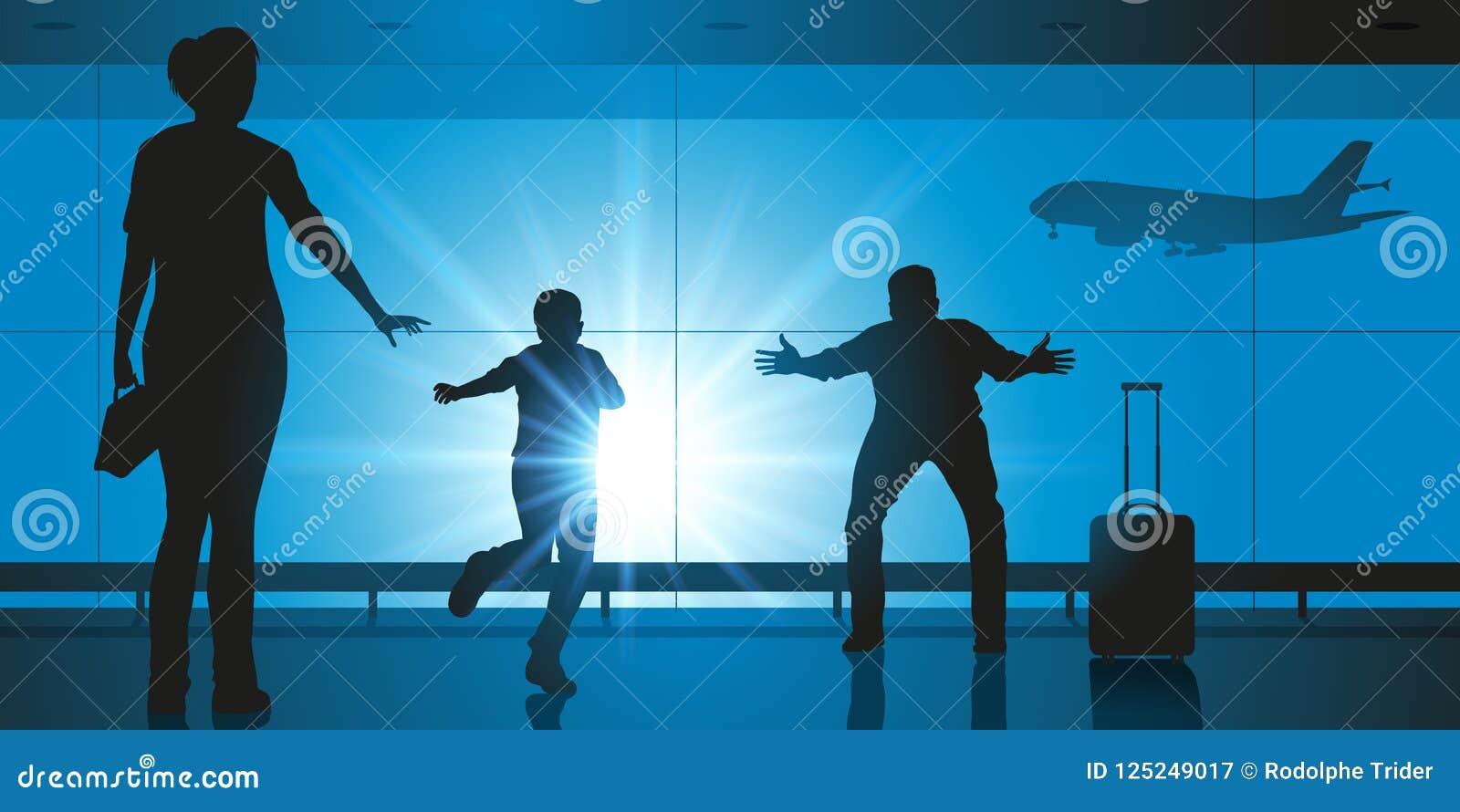 In een luchthaven wordt een familie gevonden na wordt gescheiden