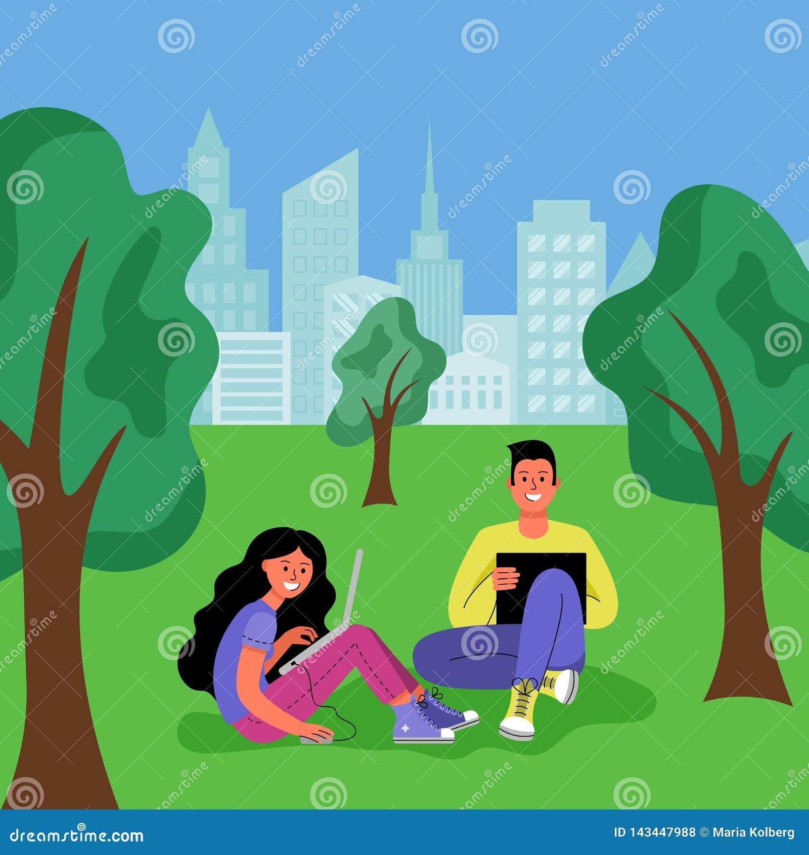 Een man en een vrouw met laptops zitten in een stadspark Vector illustratie
