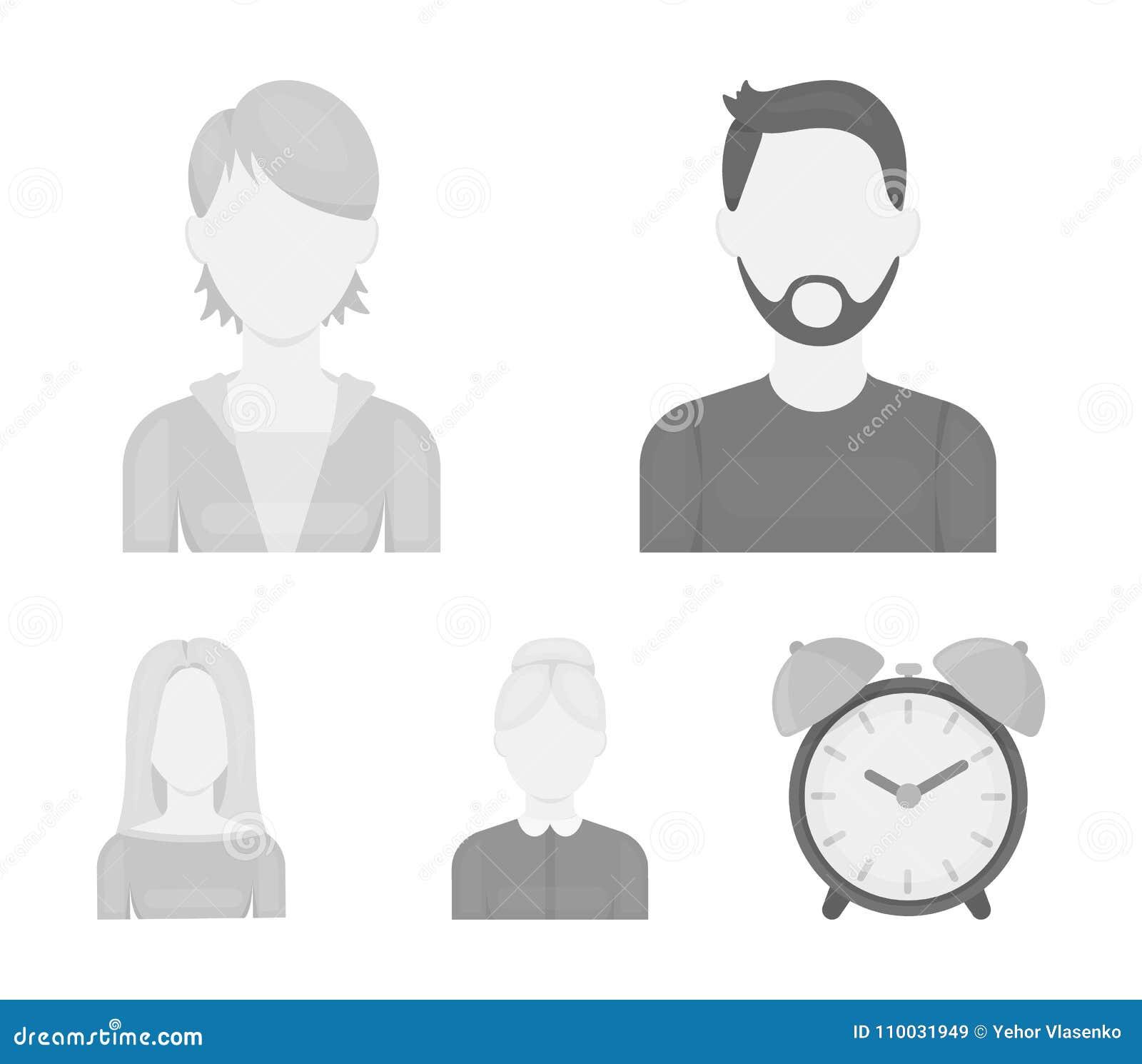 Een man met een baard en een snor, een roodharig meisje, een oude vrouw, een blonde Avatar vastgestelde inzamelingspictogrammen i