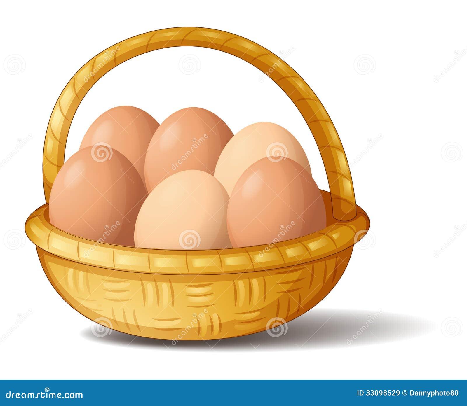 Een mand met zes eieren