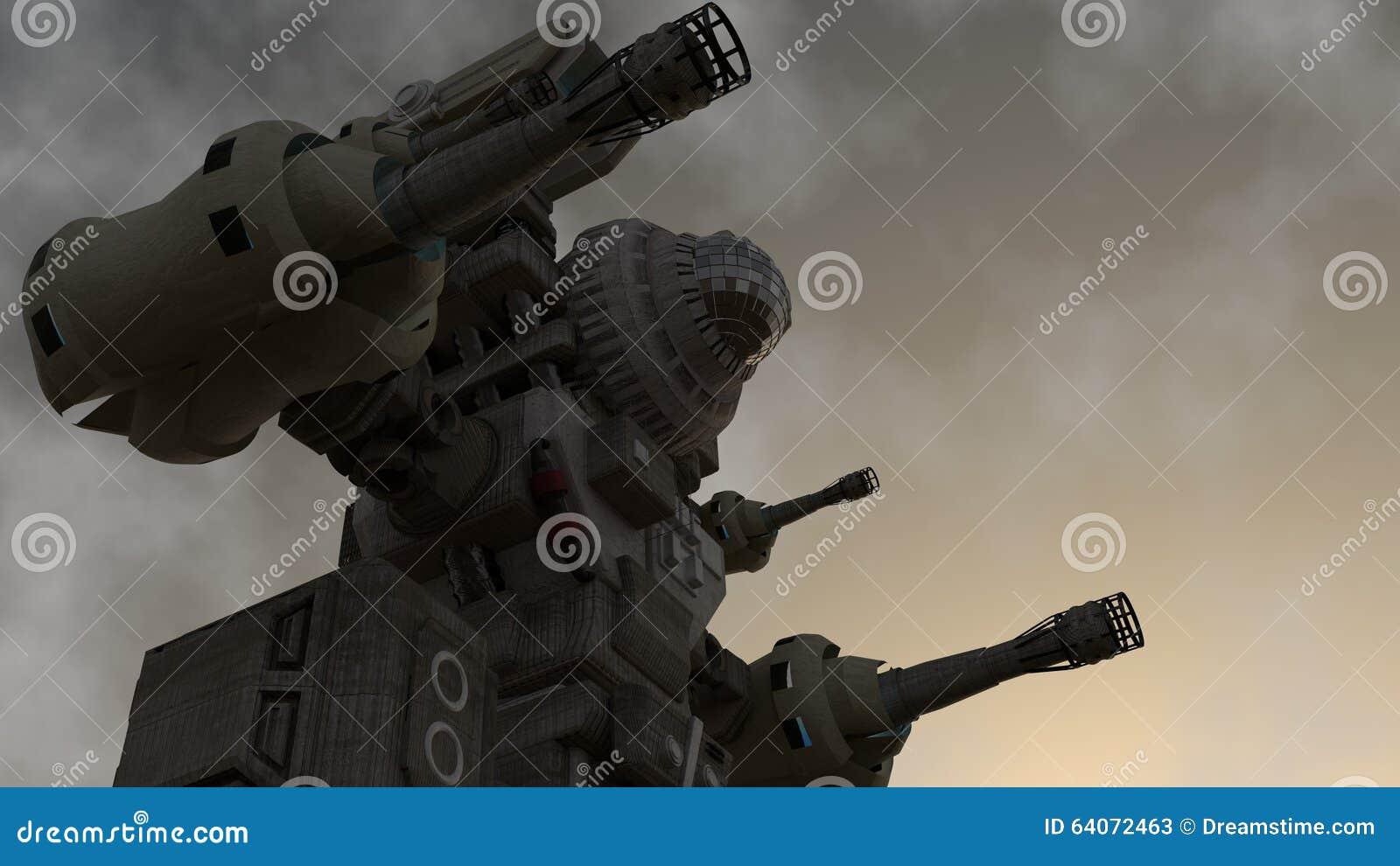 Een mechanische strijder die zich op de grond bevinden