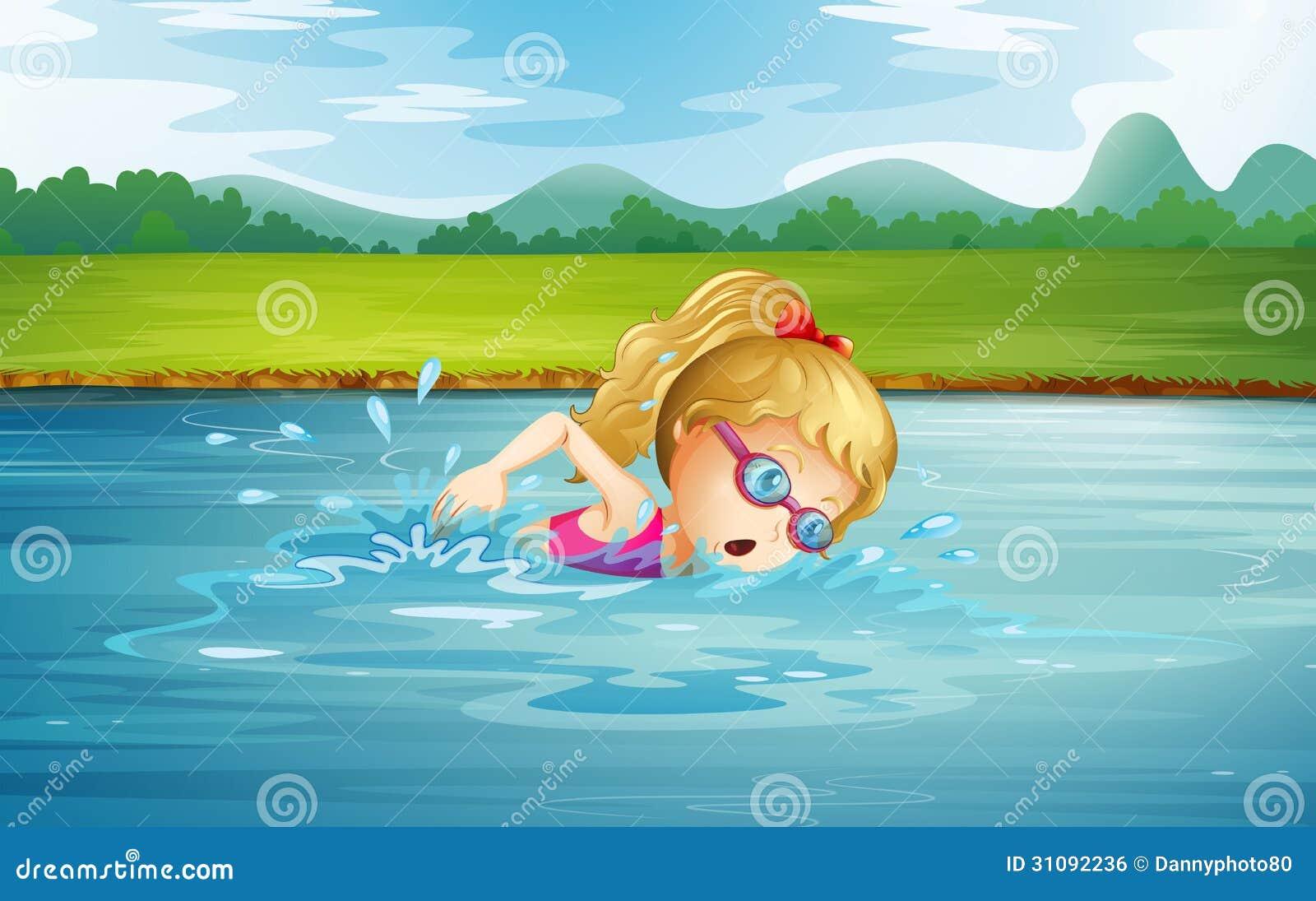 Een meisje die bij de rivier zwemmen royalty vrije stock afbeelding afbeelding 31092236 - Een kamer van een meisje ...