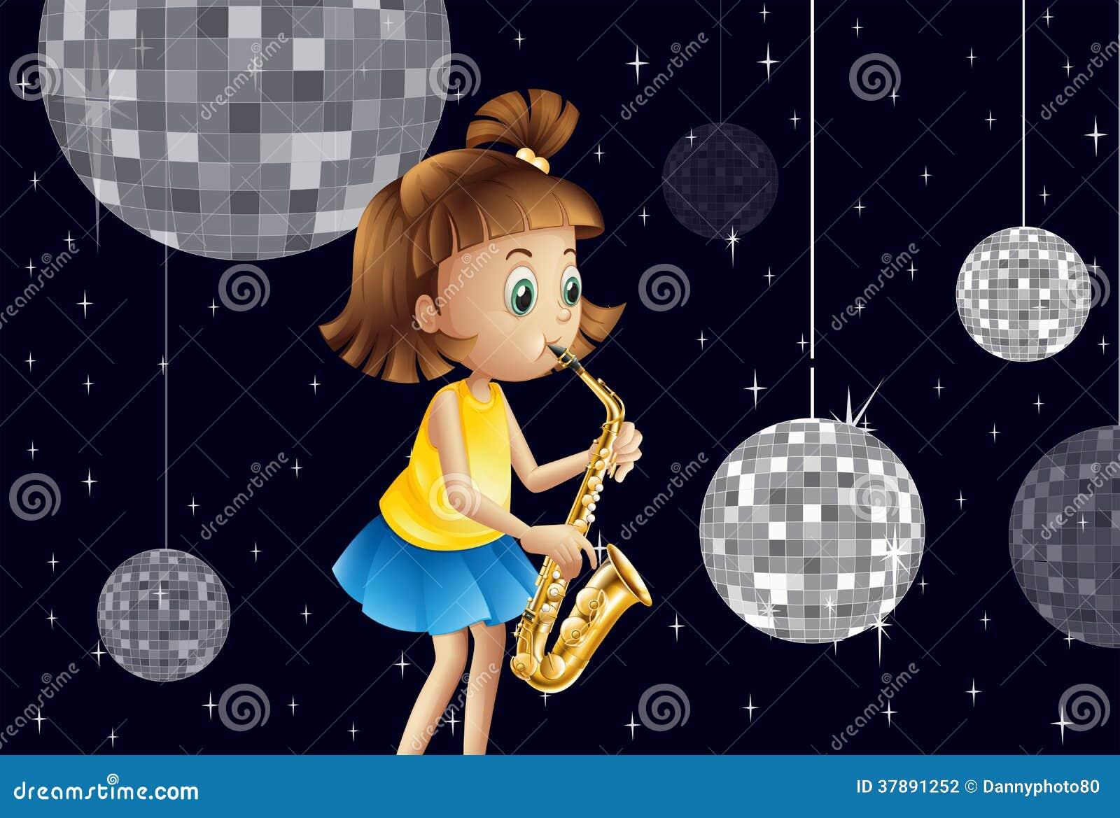 Een meisje die binnen het discohuis presteren
