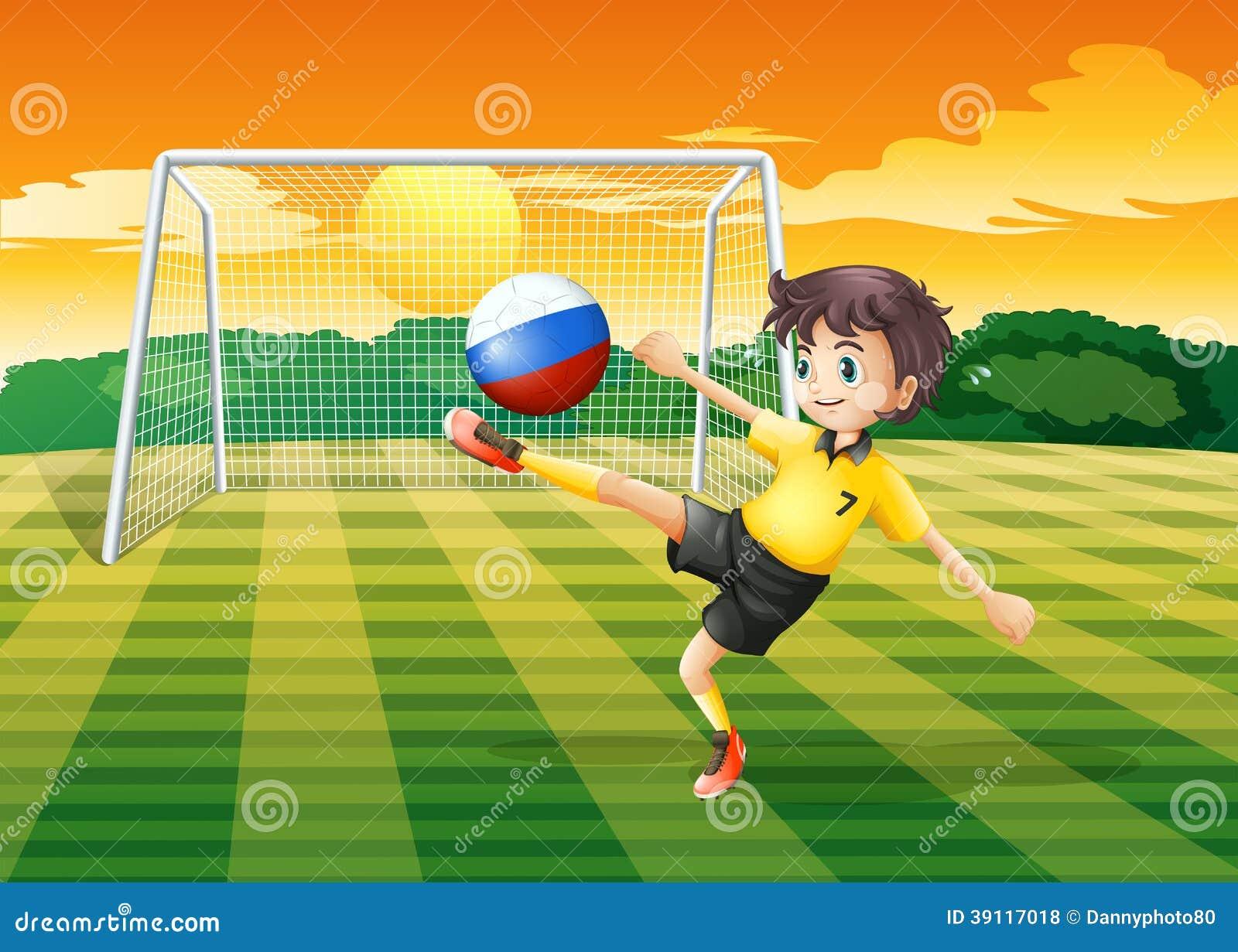 Een meisje die de bal met de Russische vlag schoppen
