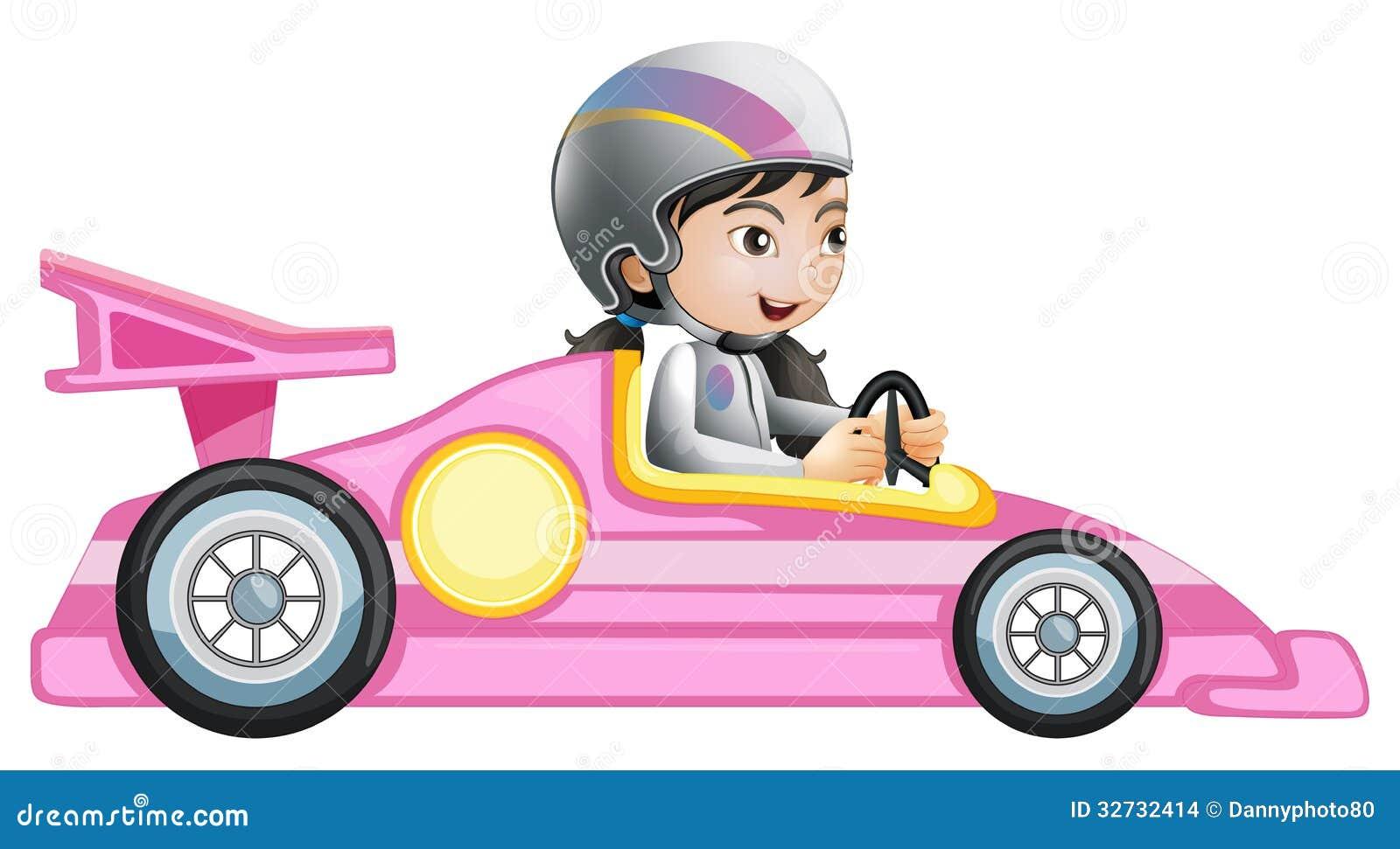 Een Meisje Die In Een Roze Raceauto Berijden Stock ...
