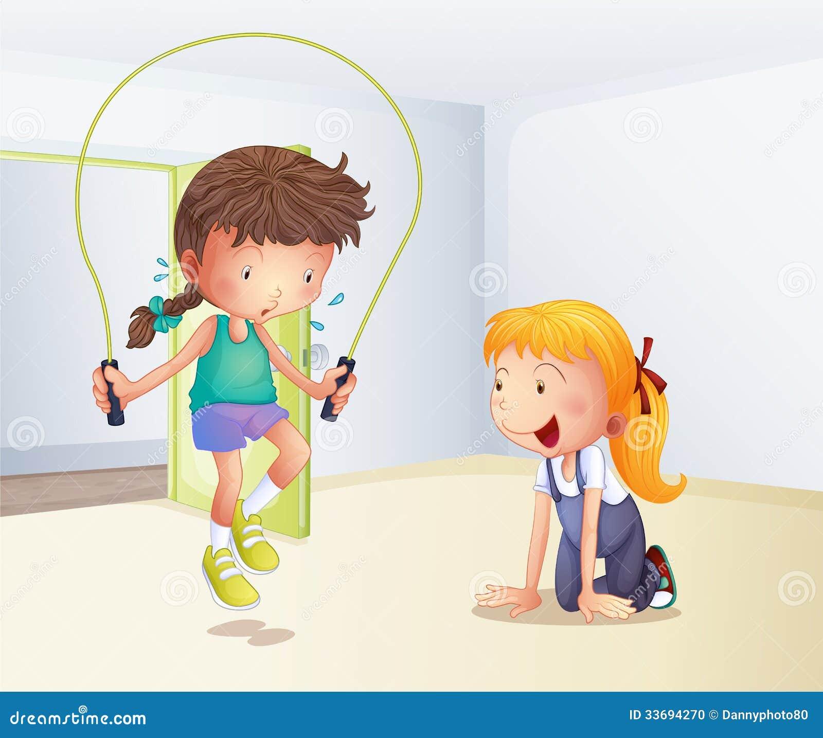 Een meisje het spelen touwtjespringen binnen de ruimte stock foto afbeelding 33694270 - Ruimte van het meisje parket ...