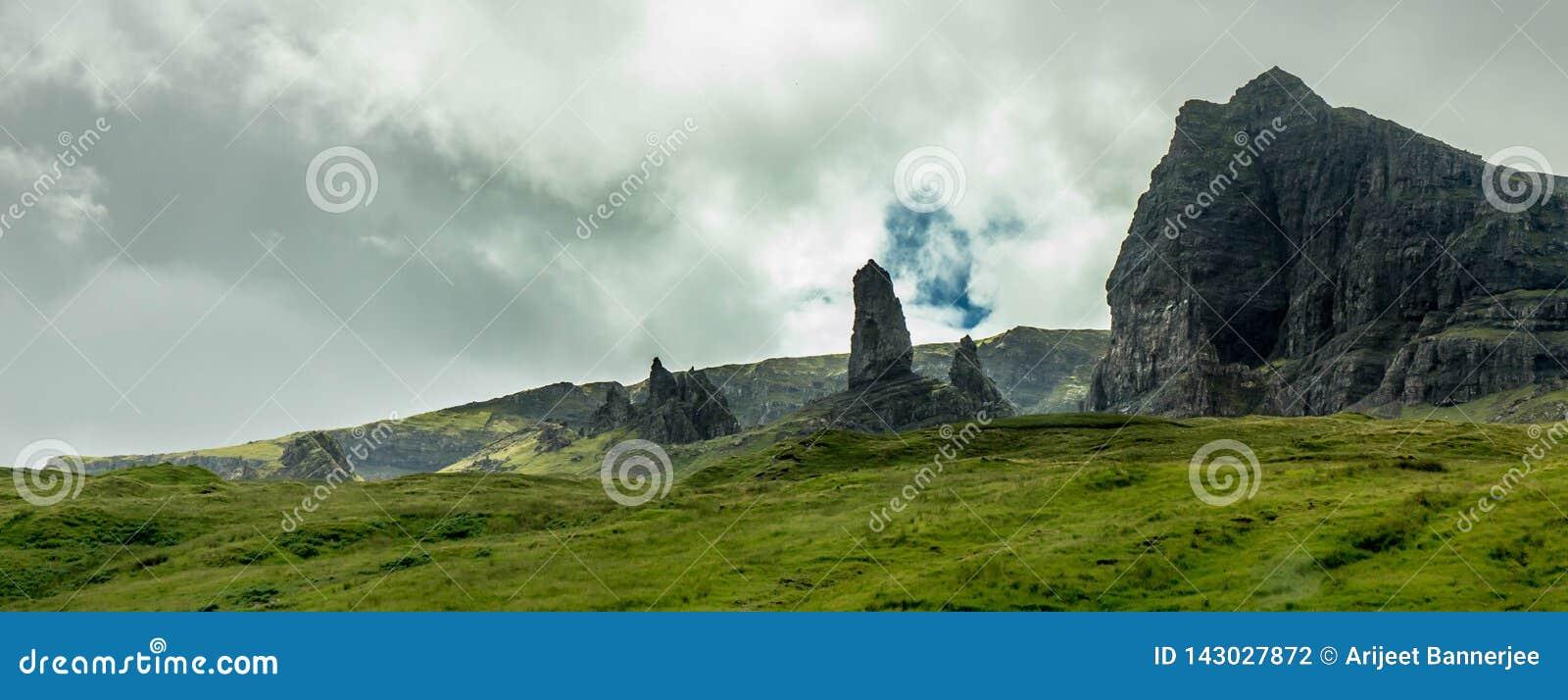 Een mening van de oude man van Storr, Eiland van Skye, Schotland