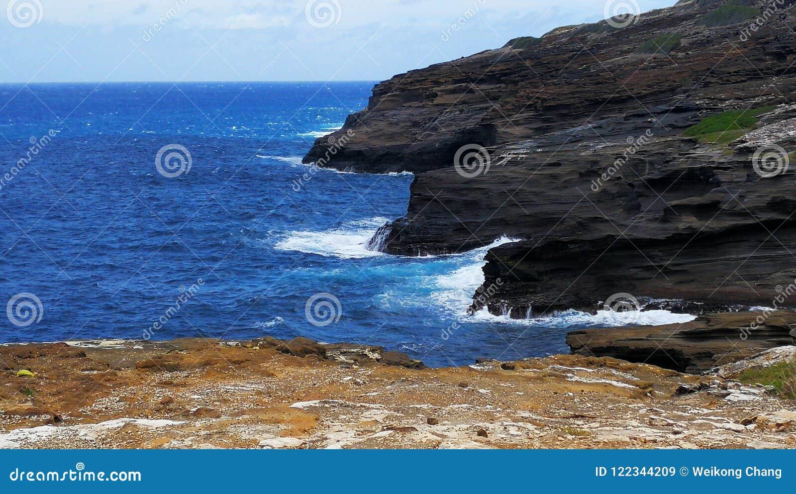 Een mening van Lanai-Vooruitzicht in Honolulu Oahu Hawaï