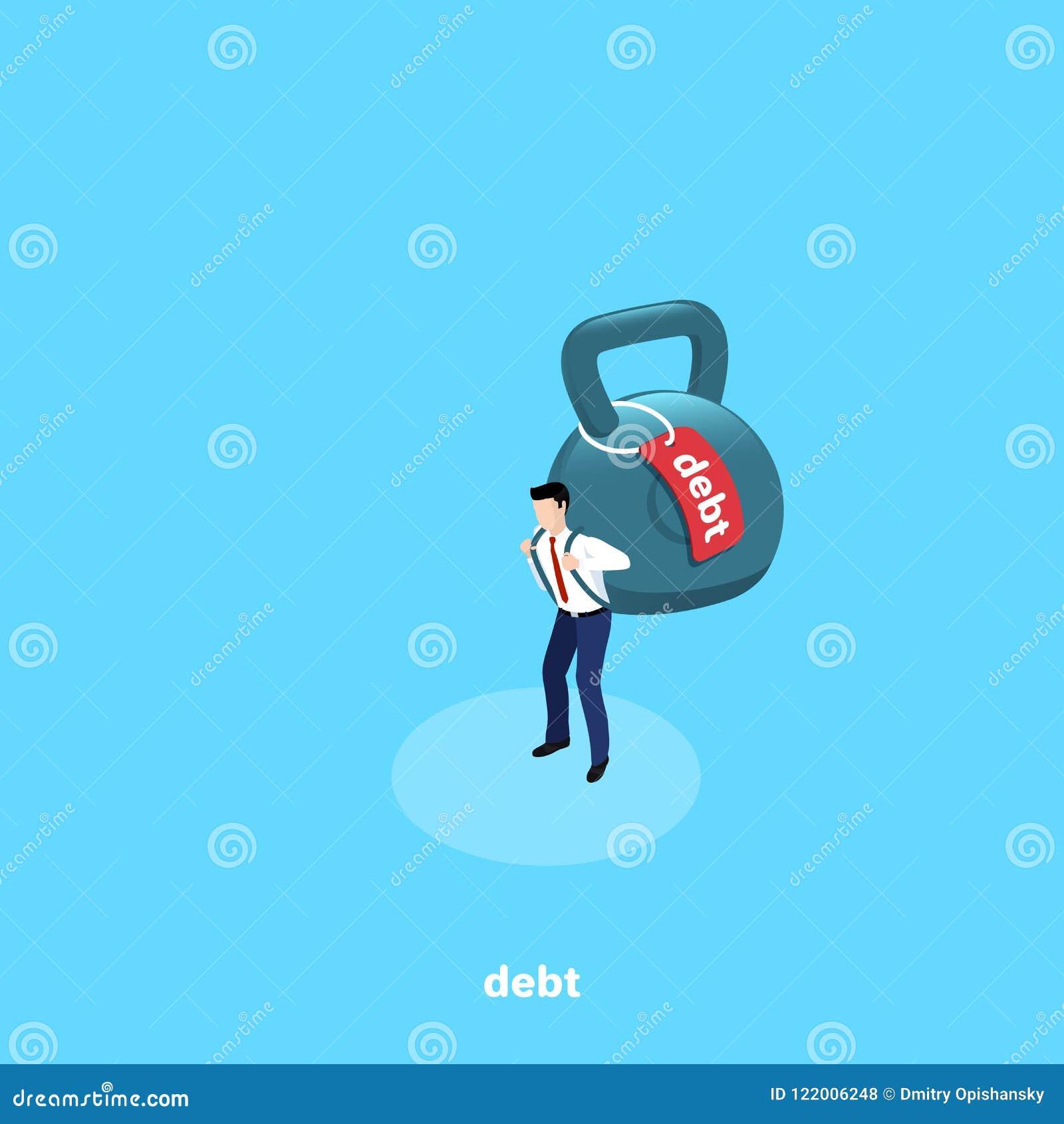 Een mens in bedrijfskleren draagt als een rugzak achter zijn rug een reusachtig gewicht