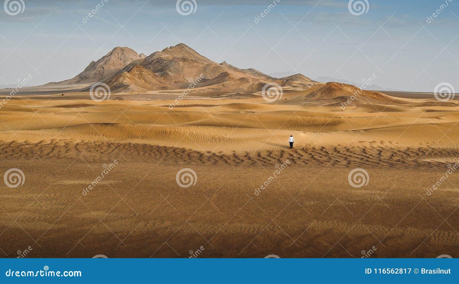 Een mens die alleen in dasht-e-Lut, een grote zoute die woestijn lopen in de provincies van Kerman, Sistan en Baluchestan wordt g