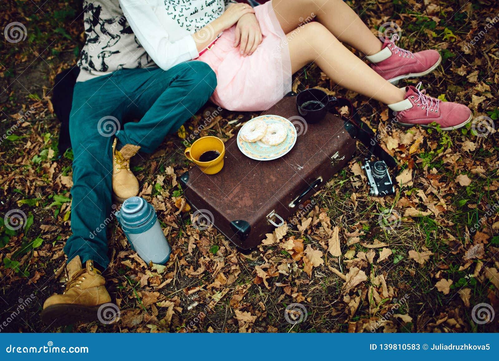 Een mens en een meisje die op een deken op een de winterpicknick op de dag van Valentine in het hout liggen en drinken thee Hoogs