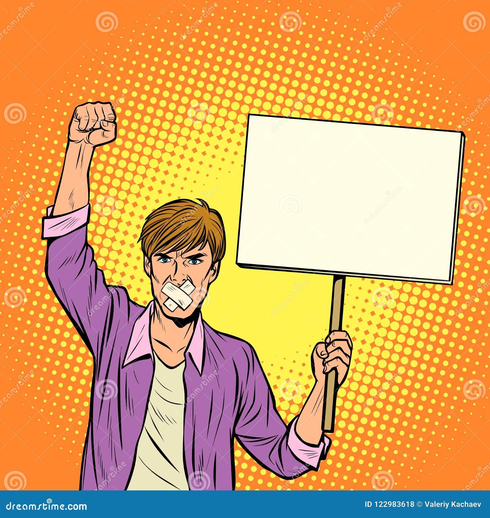 Een mens met een prop protesteert tegen censuur, voor vrijheid van spe