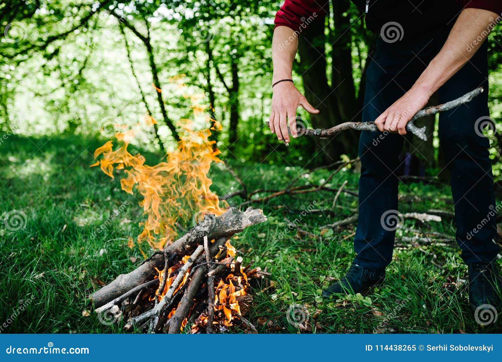 Een mens zet een stok in de brand, rust in de aard De tak is in de handen van de mens