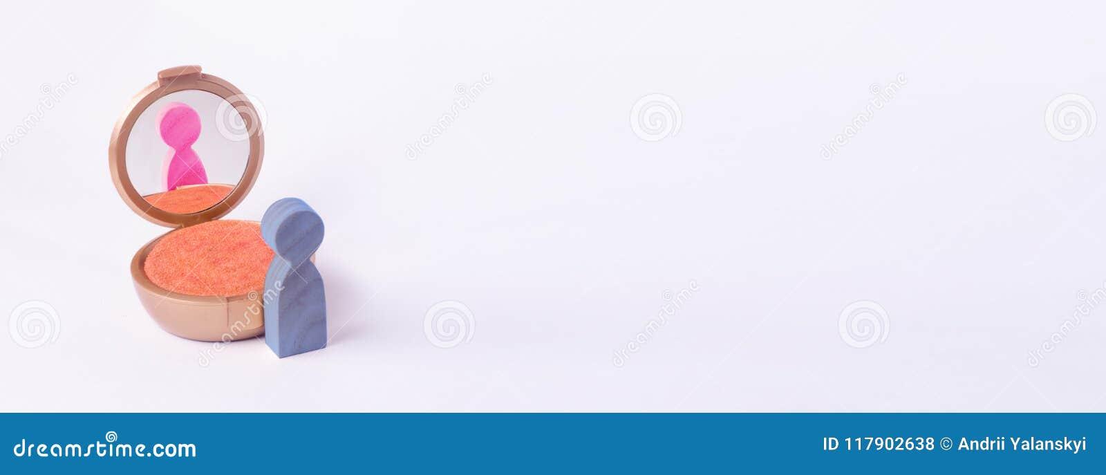 Een miniatuurcijfer van een mens kijkt in de spiegel en ziet zijn het uitbroeden in een ander geslacht Het concept geslachtsident
