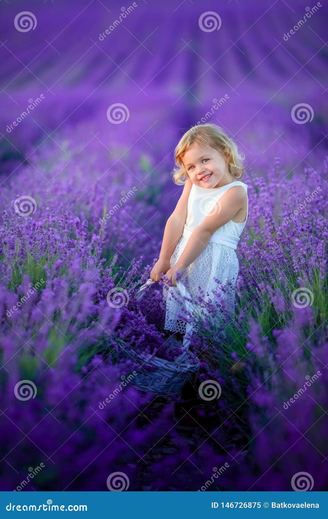 Een Mooi jong meisjes in openlucht portret het jonge geitje in hoed met mand bloeit het oogsten op lavendelgebied de Provence, bi