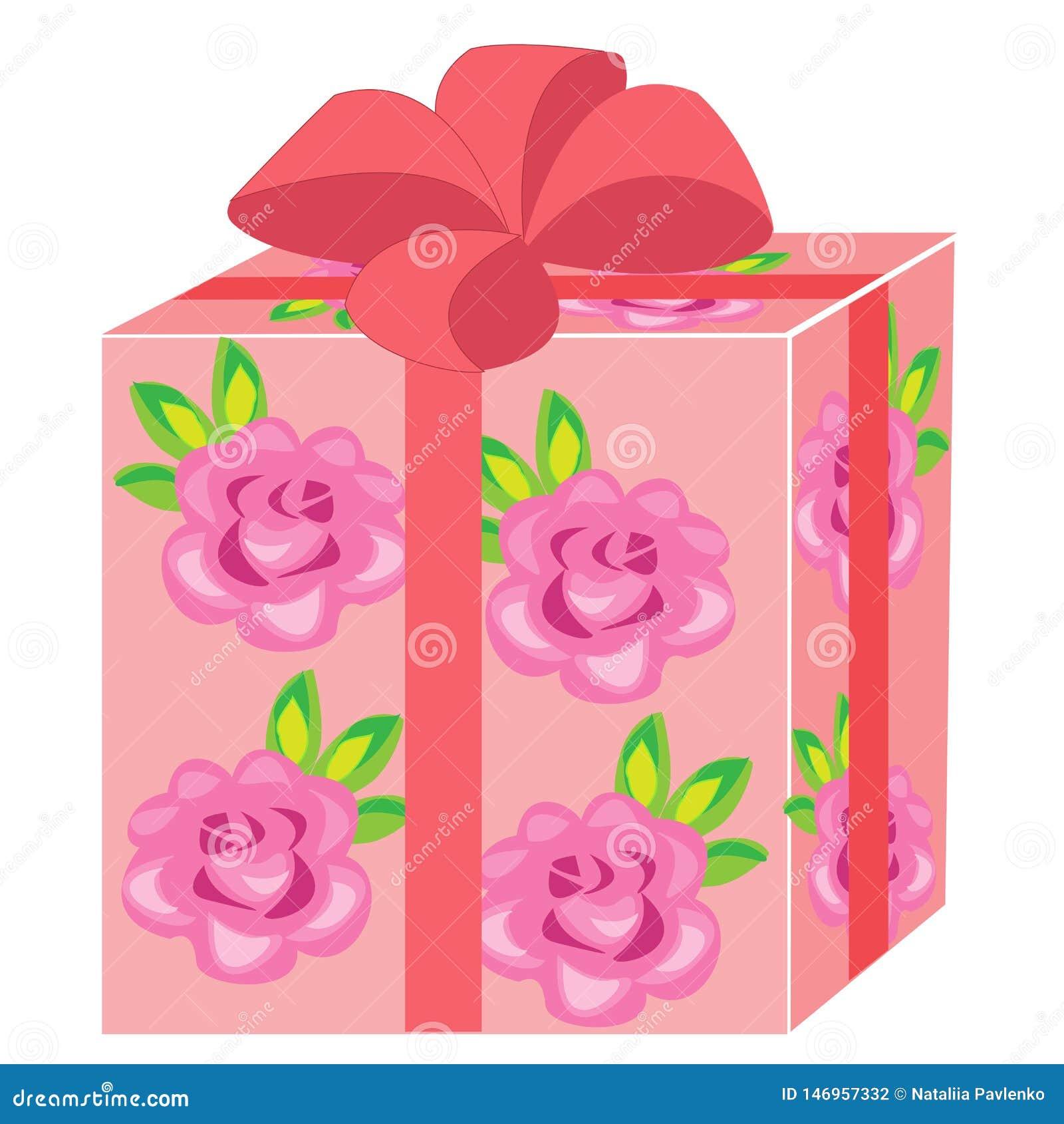 Een mooie gift De doos wordt ingepakt voor een vakantie Het pakket is roze, verfraaid met rozen De rode boog is gebonden op boven