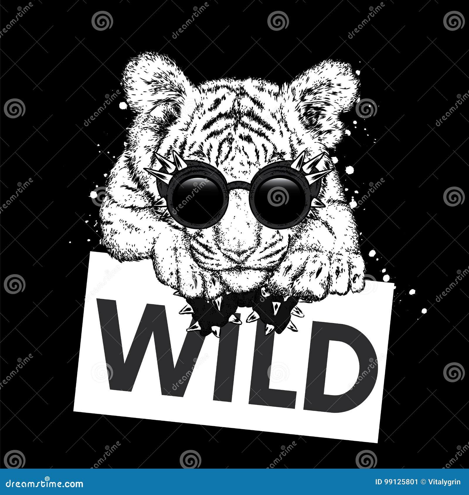 Een mooie tijgerwelp met glazen en een band Vectorillustratie voor een prentbriefkaar of een affiche, druk voor kleren en toebeho